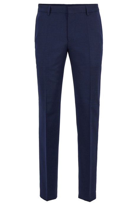 Micro-patterned slim-fit trousers in virgin wool, Open Blue
