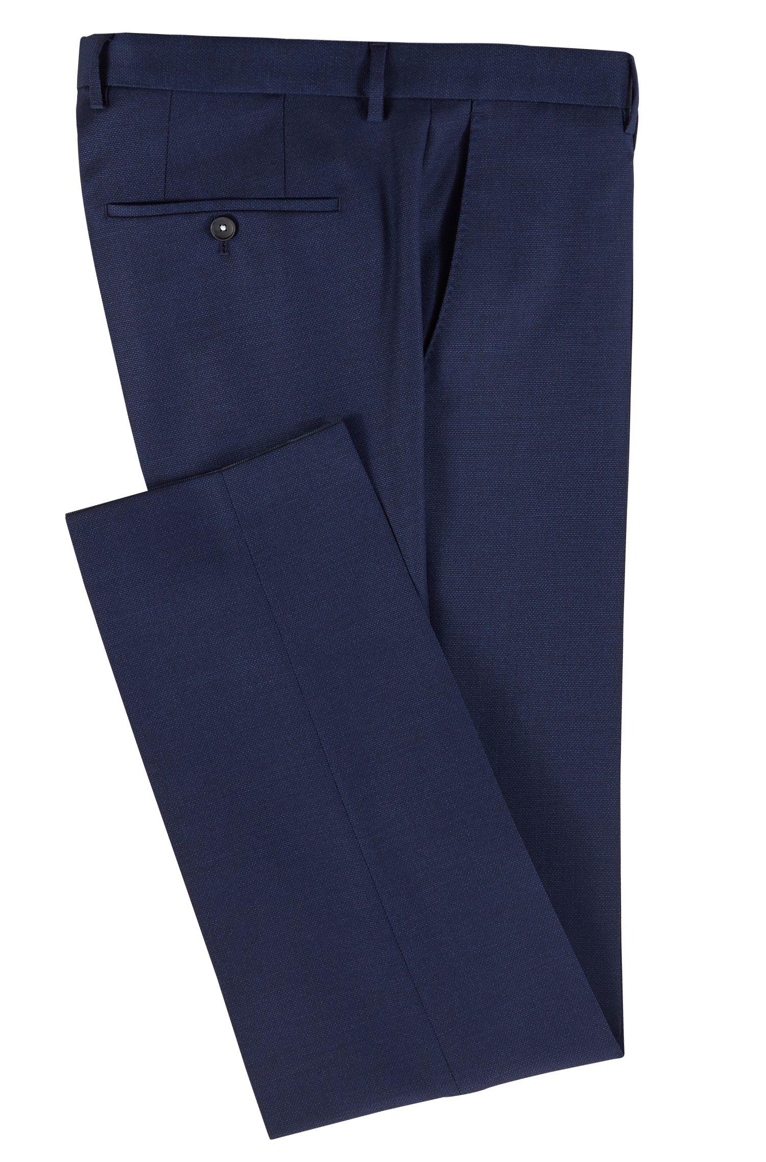 Micro-patterned slim-fit trousers in virgin wool, Open Blue