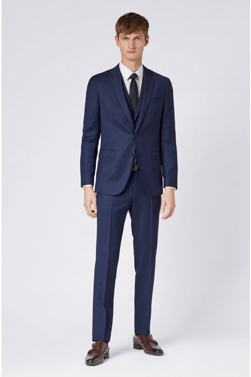 Hugo Boss - Micro-patterned slim-fit trousers in virgin wool - 2