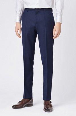Micro-patterned slim-fit trousers in virgin wool, Light Blue
