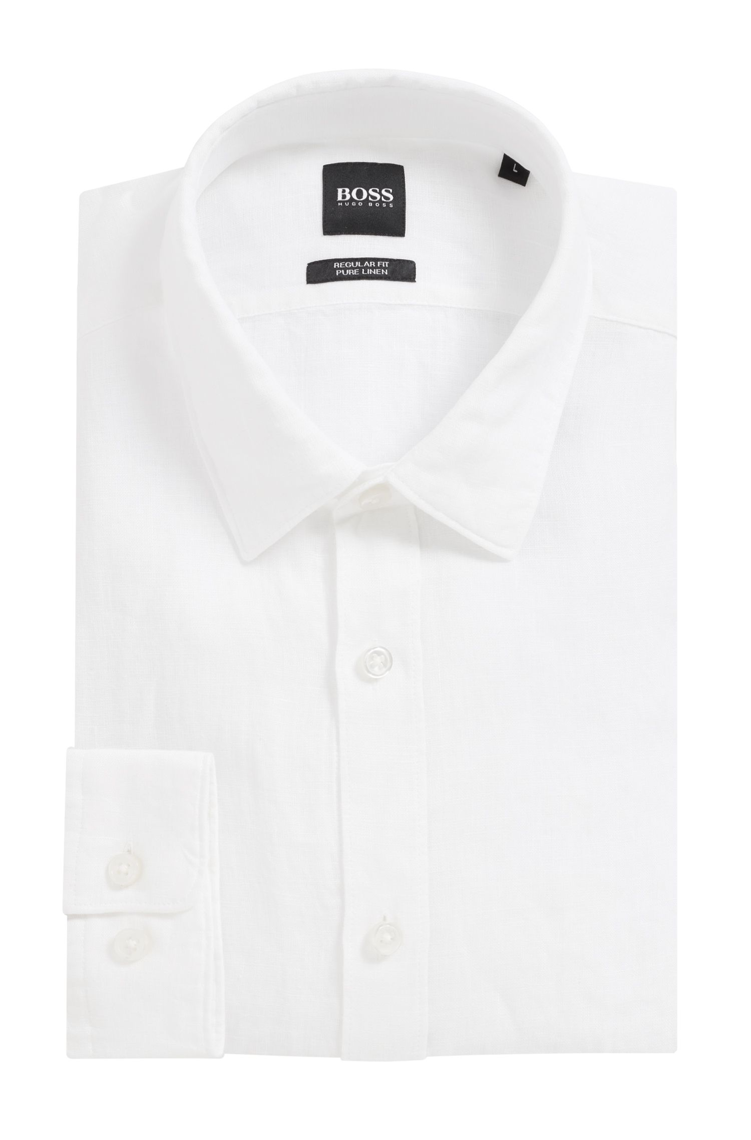 Regular-fit shirt in linen with roll-up sleeves, White