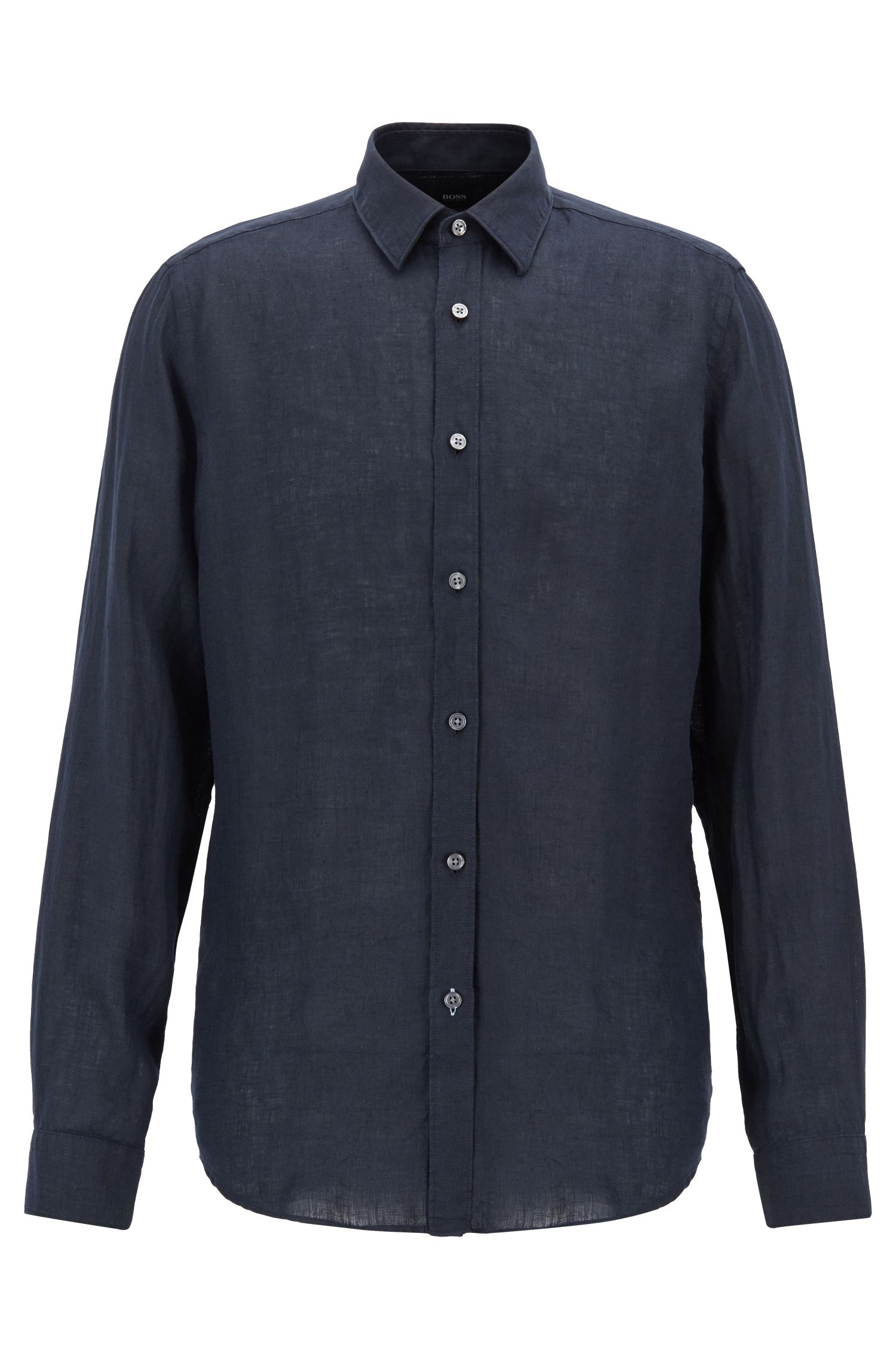 Regular-fit shirt in linen with roll-up sleeves, Dark Blue