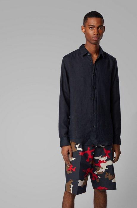 Camicia regular fit in lino con maniche arrotolabili, Blu scuro