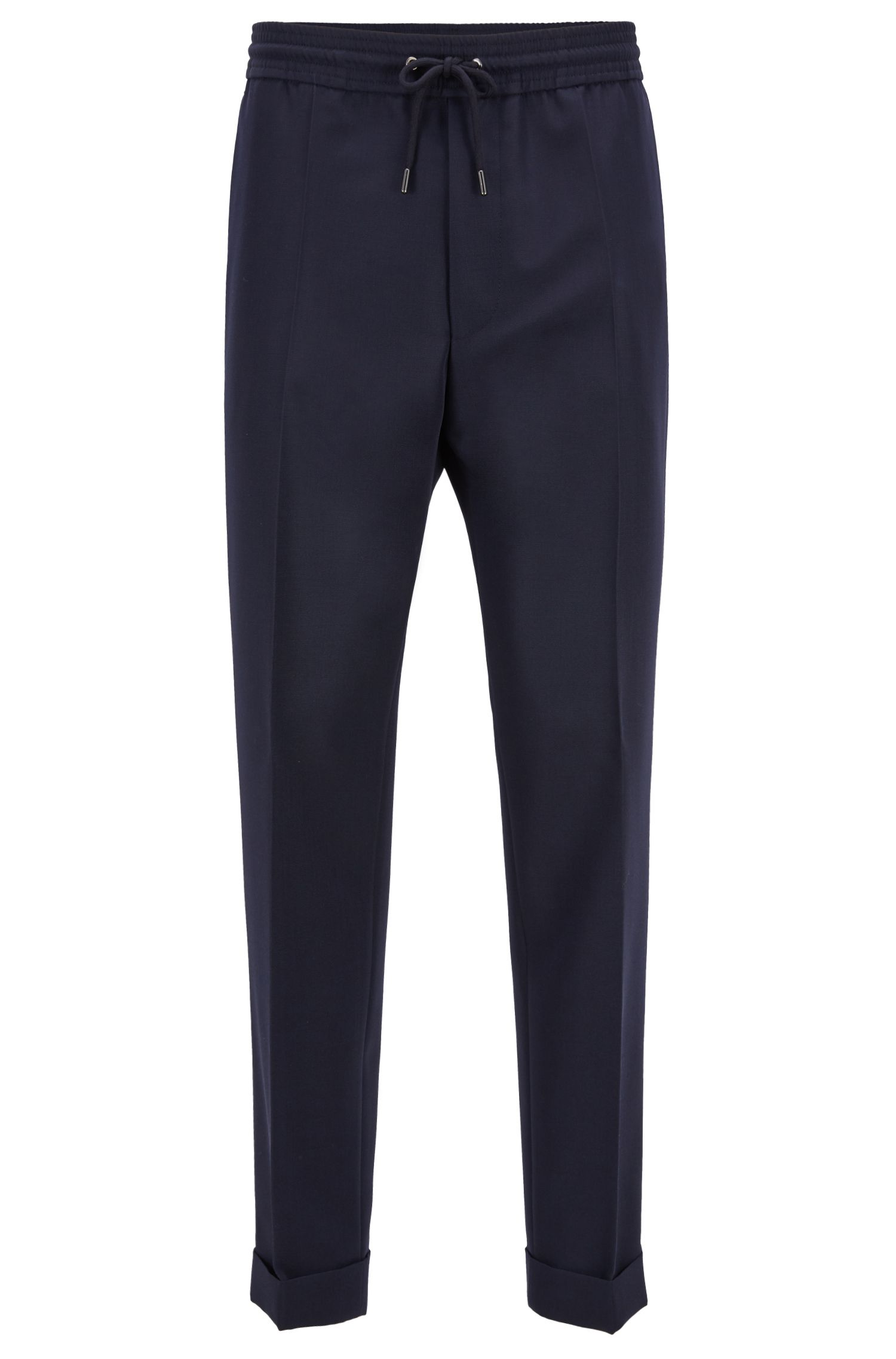 Relaxed-fit trousers in mixed wool with turn-ups, Dark Blue