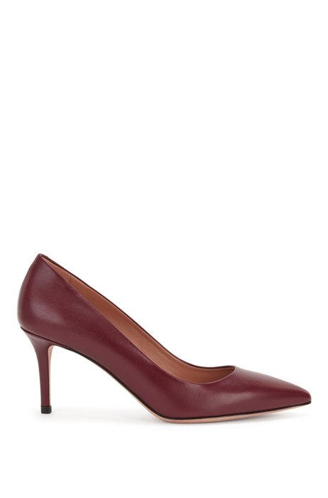 Heeled pumps in Italian leather with pointed toe, Dark Red