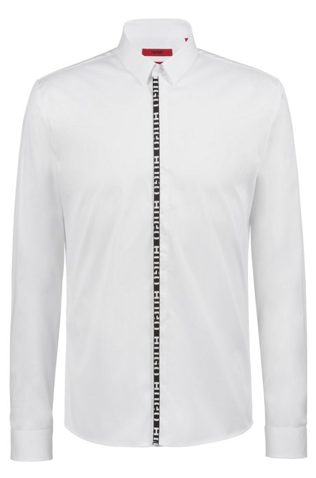 Extra-slim-fit shirt with logo placket, Open White