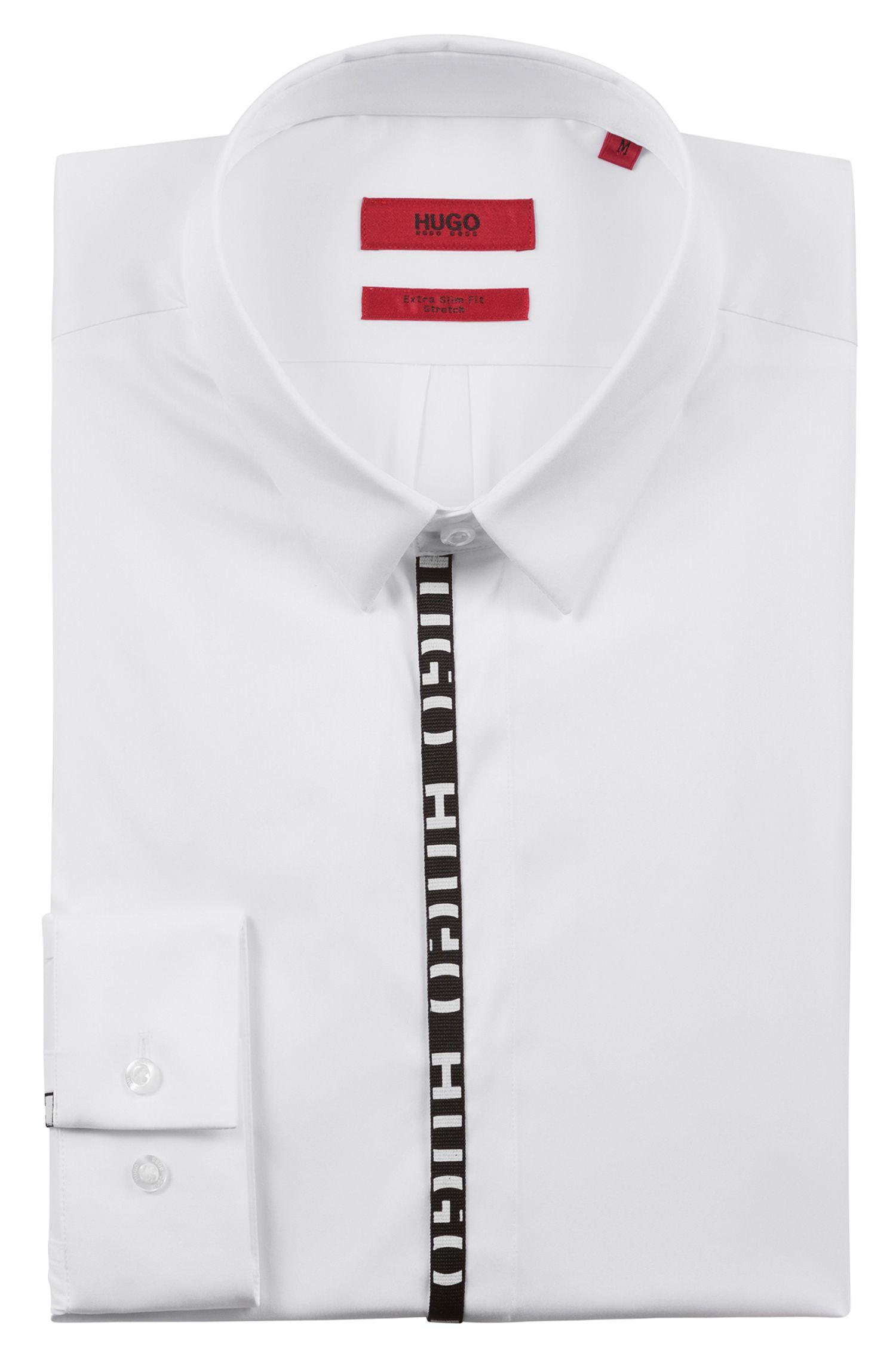 Camisa extra slim fit con logos en la tapeta, Blanco