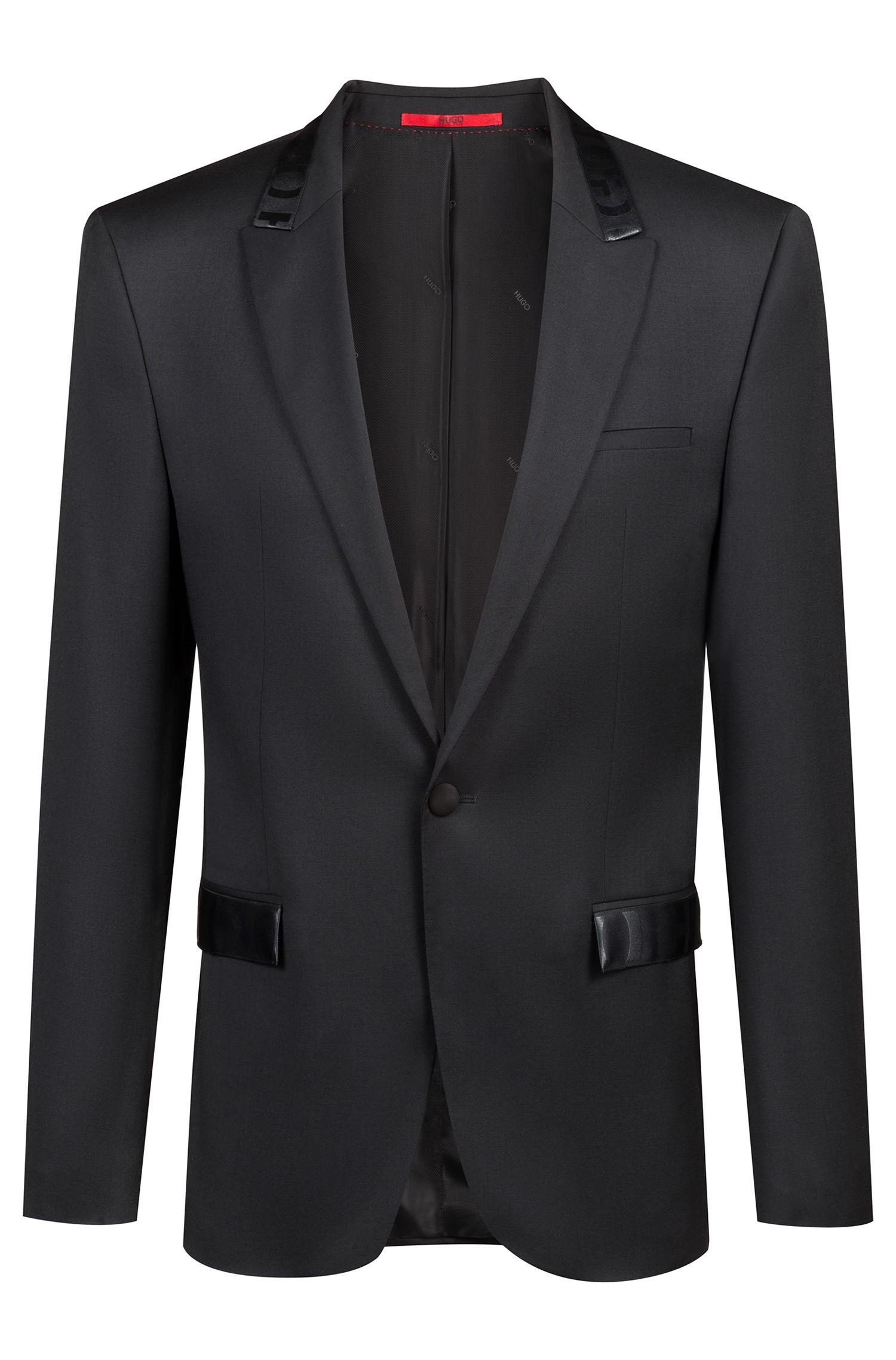 Veste Extra Slim Fit avec finitions logo, Noir