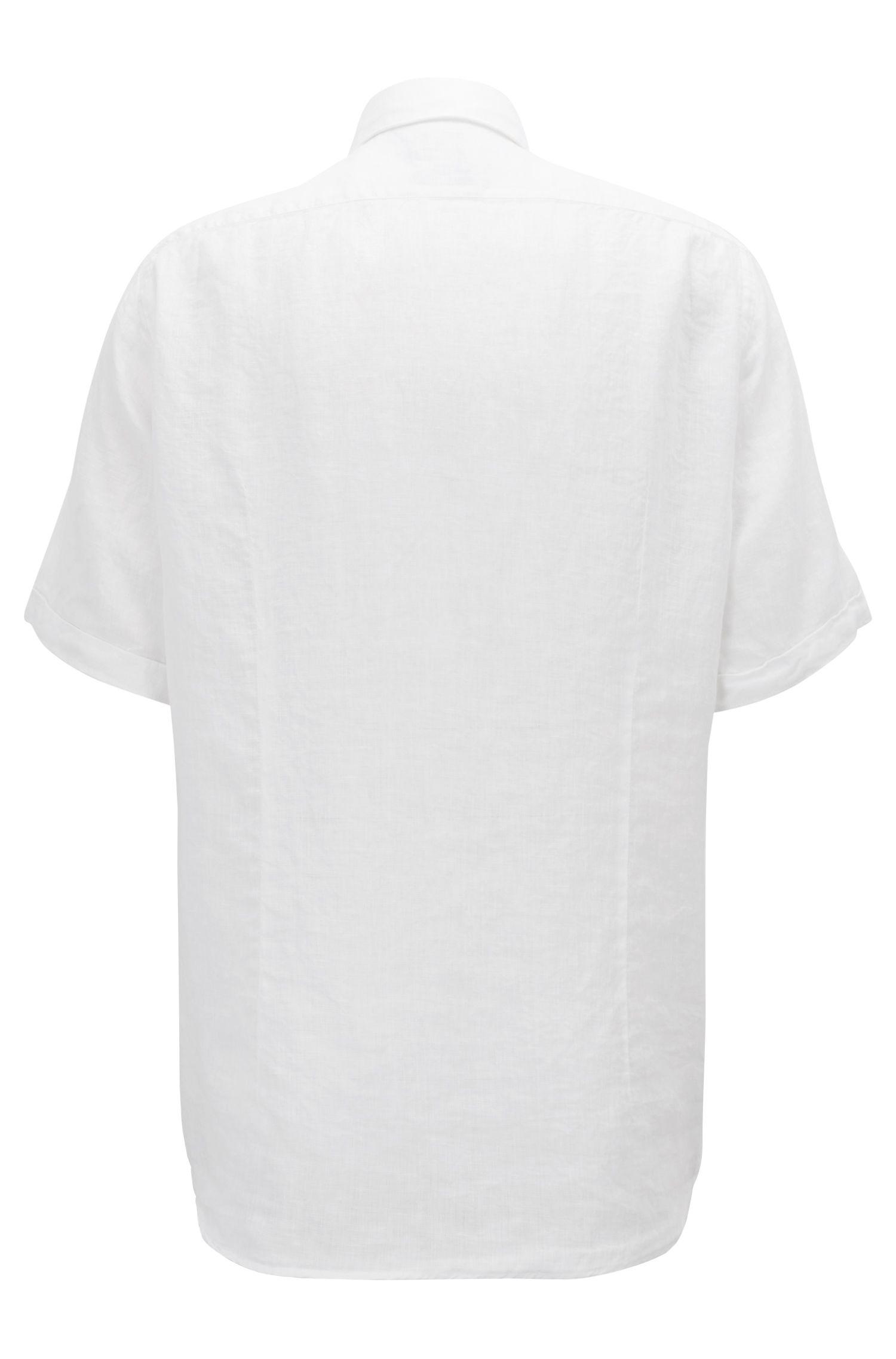 Regular-Fit Hemd aus reinem Leinen mit gewaschenem Finish, Weiß