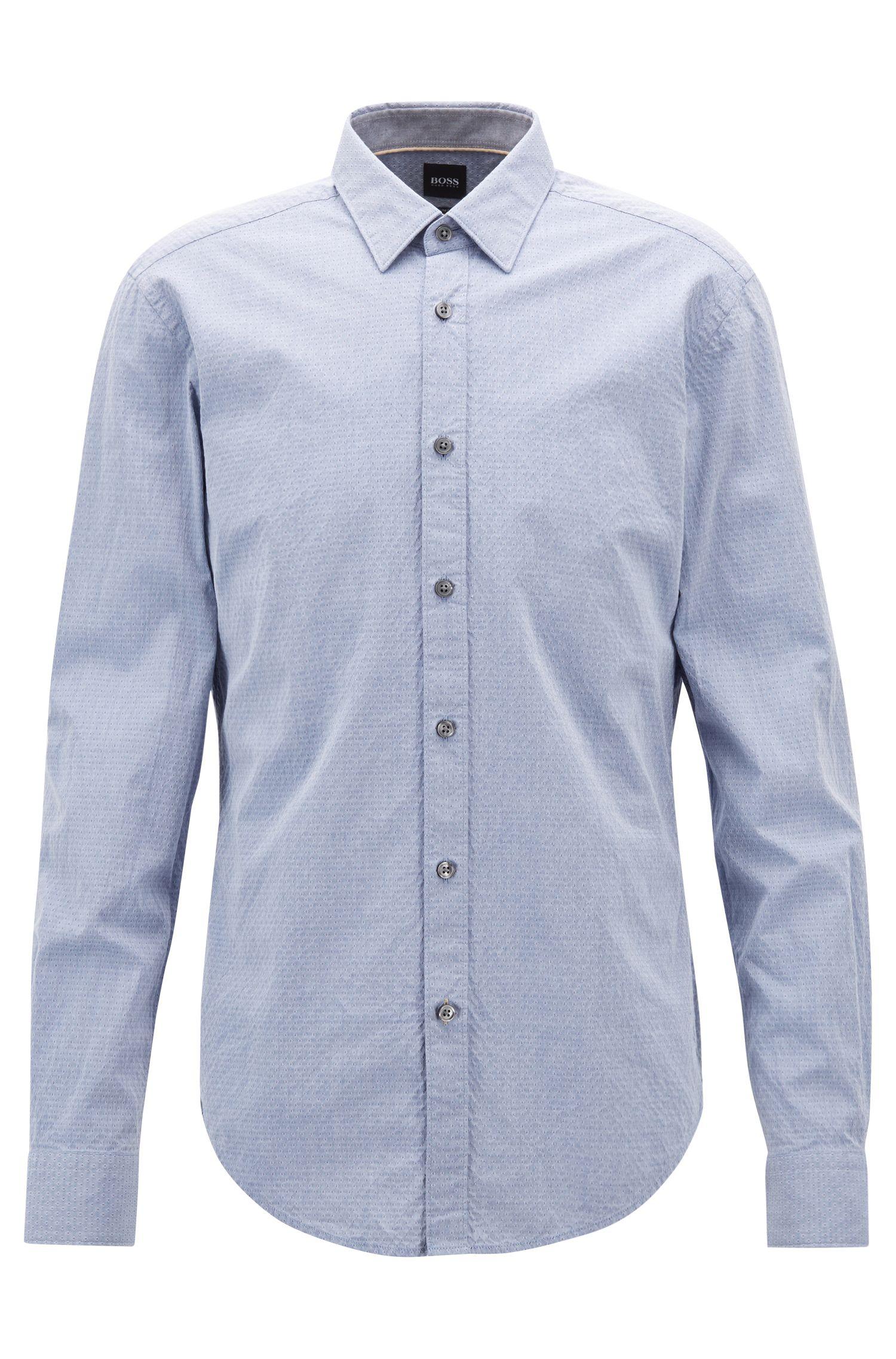 Slim-fit overhemd van gestructureerde oxfordkatoen, Donkerblauw
