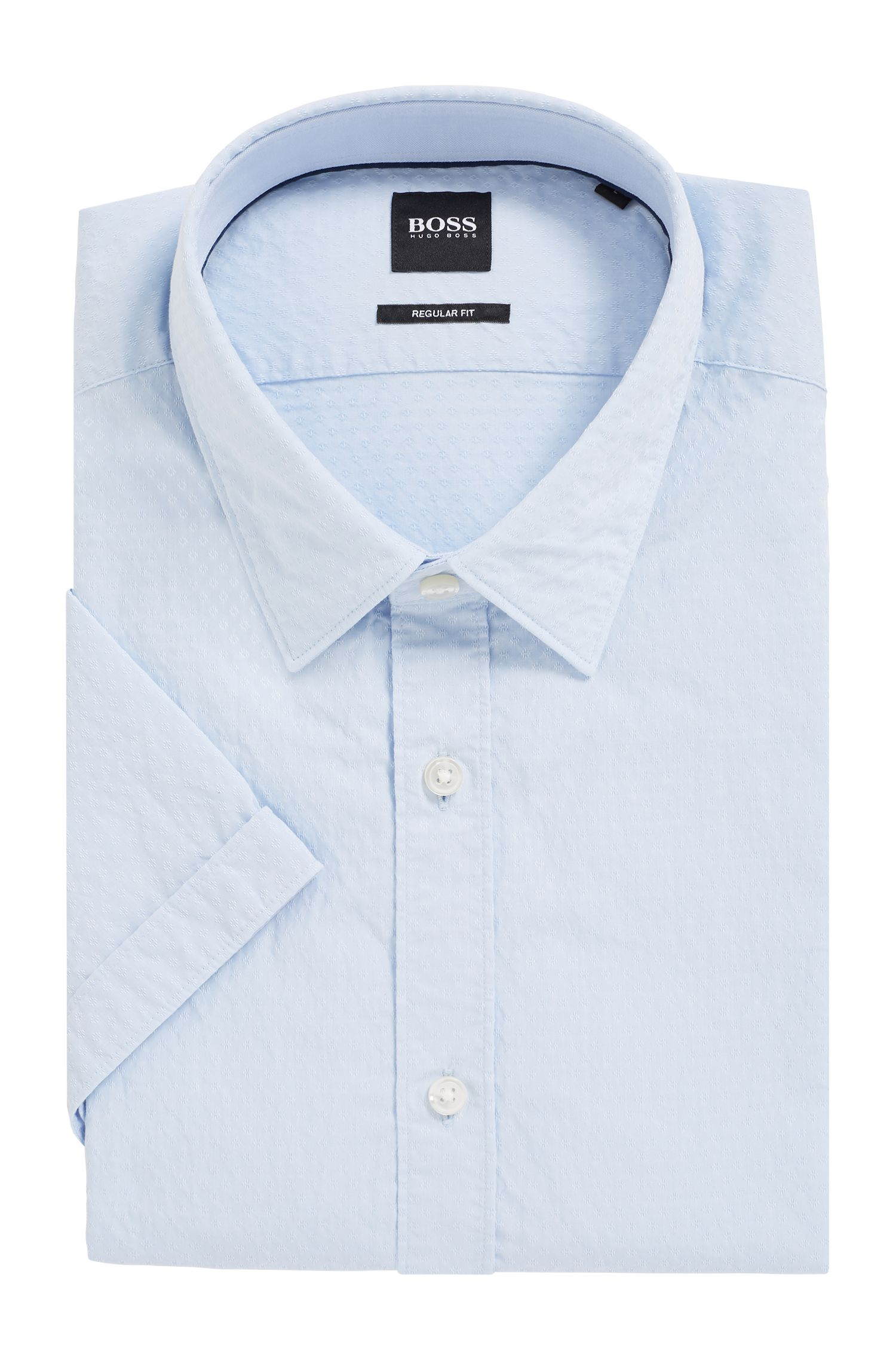 Regular-fit shirt in dobby cotton with geometric pattern, Light Blue