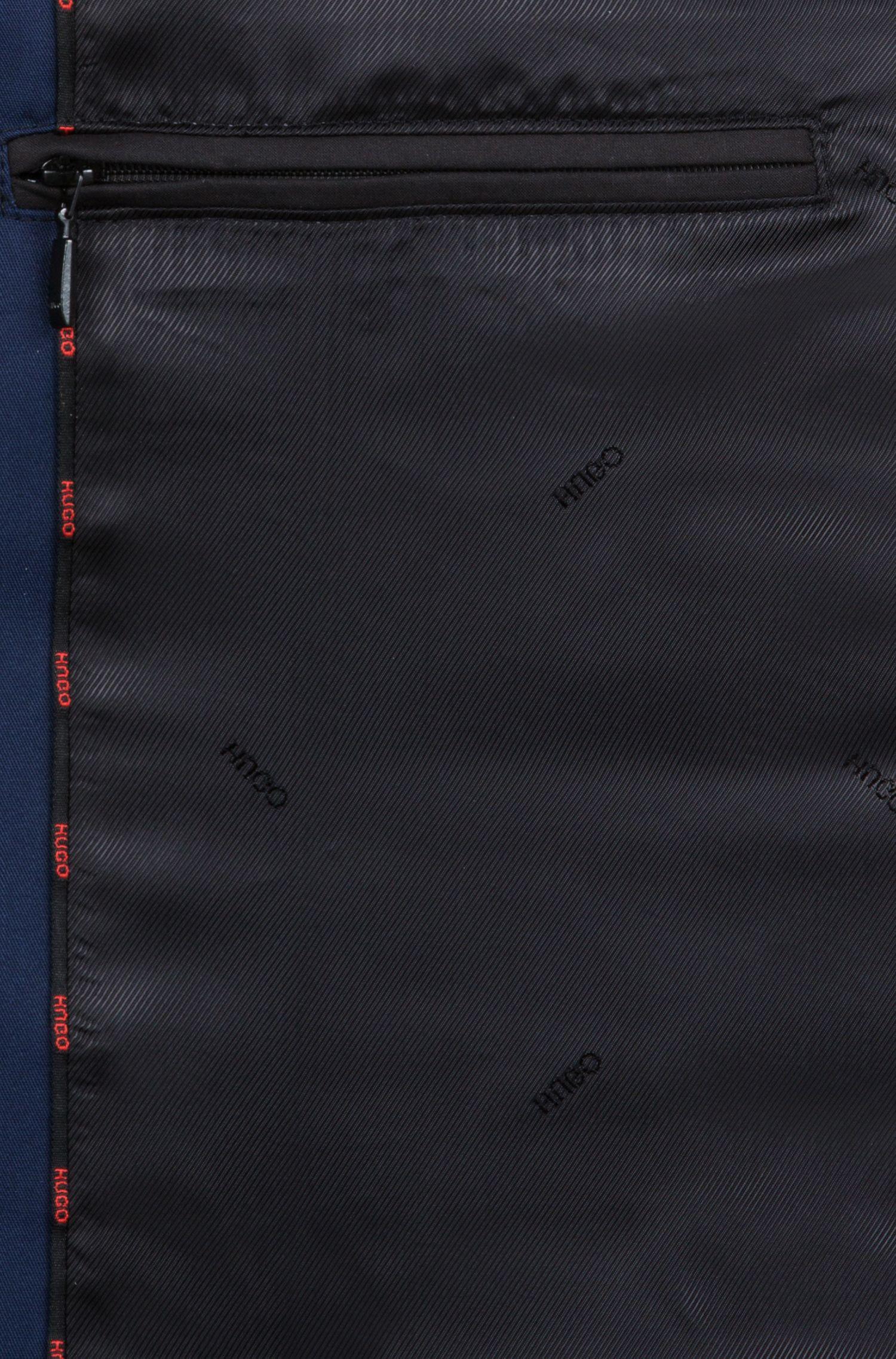 Trench droit avec détails aux épaules, Bleu foncé