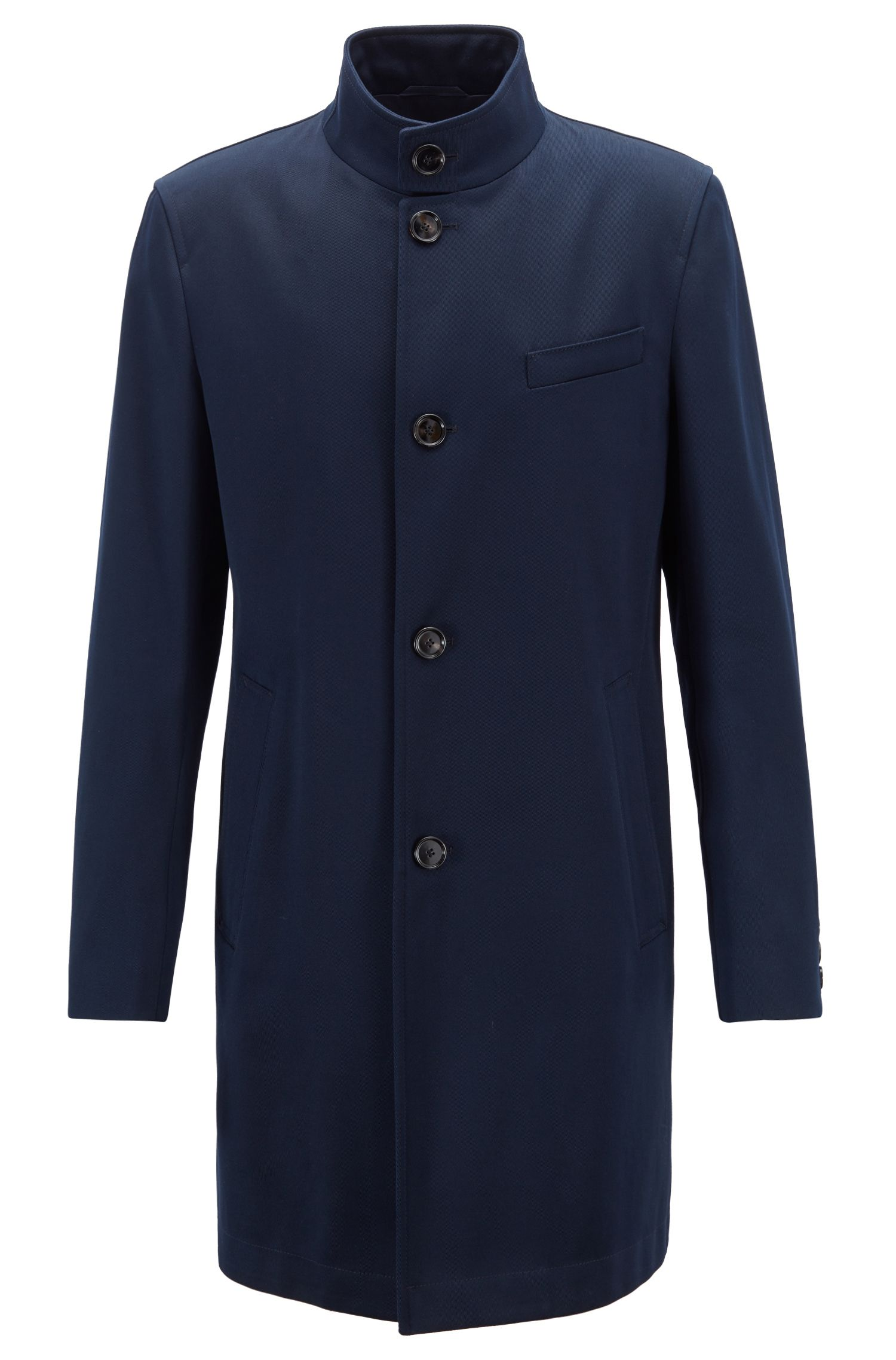 Slim-fit coat in water-repellent cotton with stand collar, Dark Blue