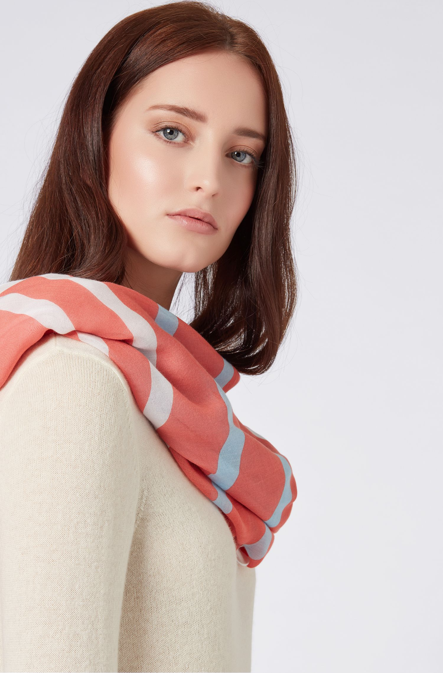 Oversized square scarf with multicoloured print, Light Orange