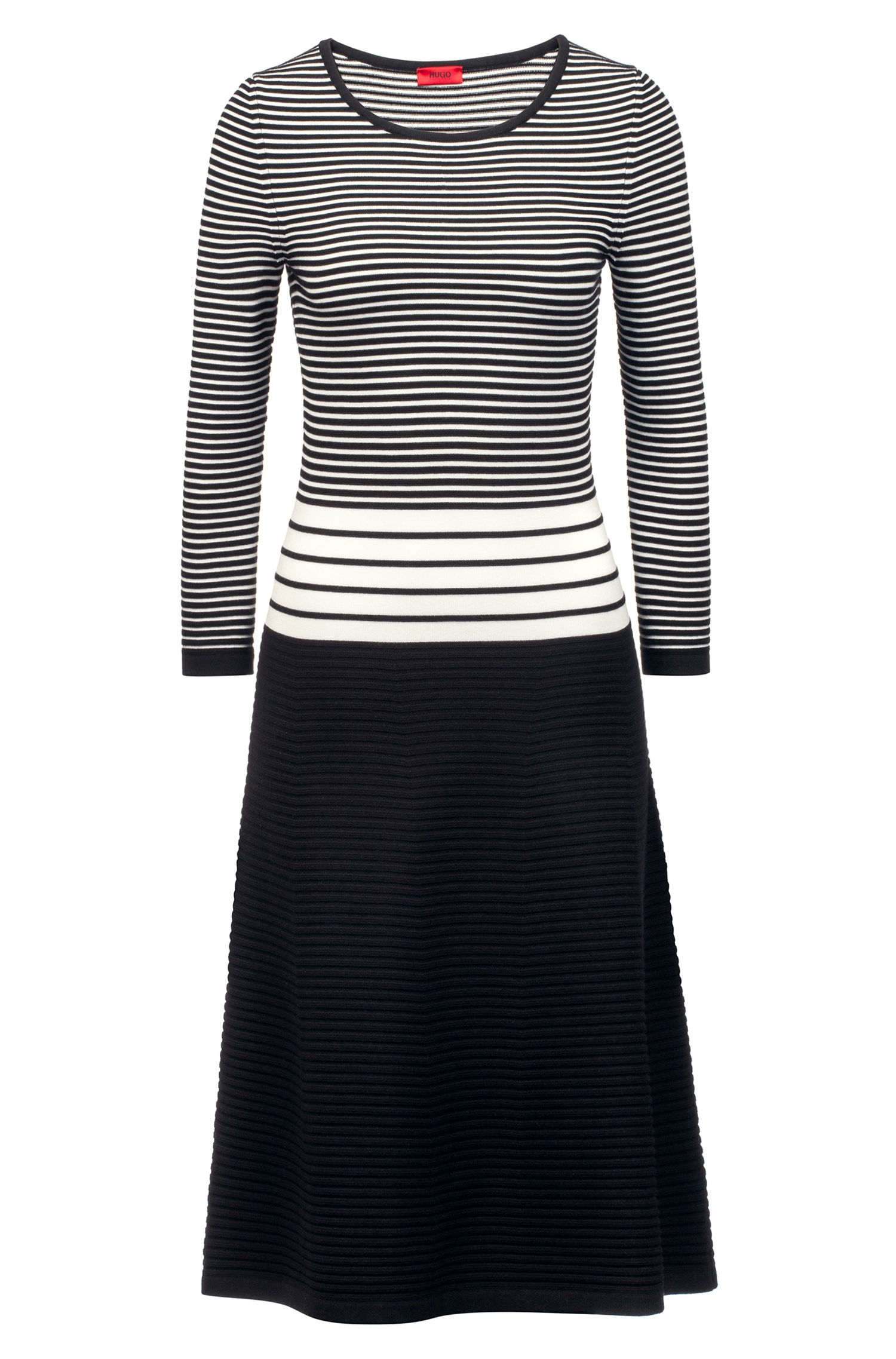 Striped dress in mixed knitted structures, Patterned