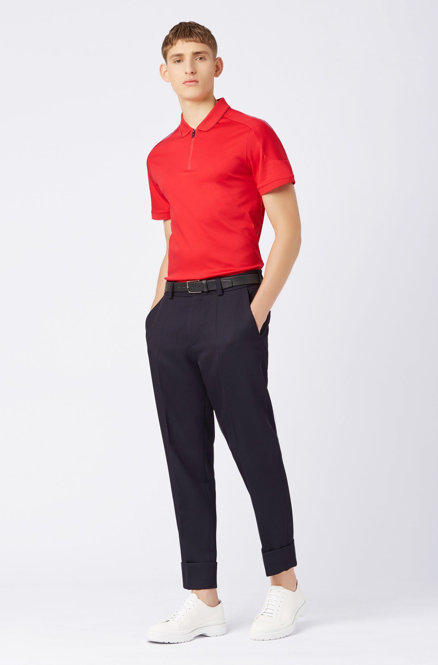 Polo slim fit in cotone con colletto con zip, Rosso