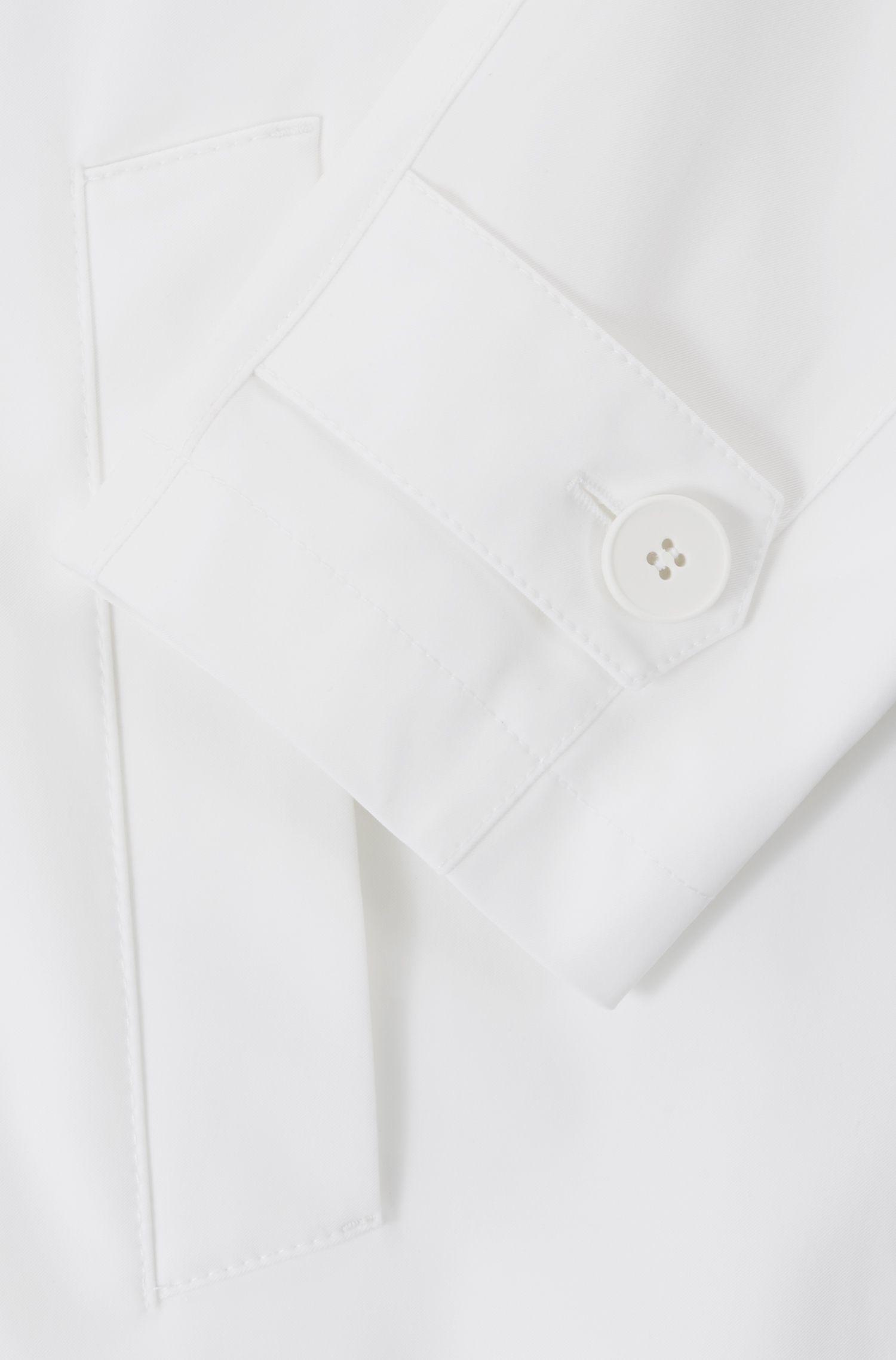 Gabardina de ajuste relajado con cinturón en el talle, Blanco