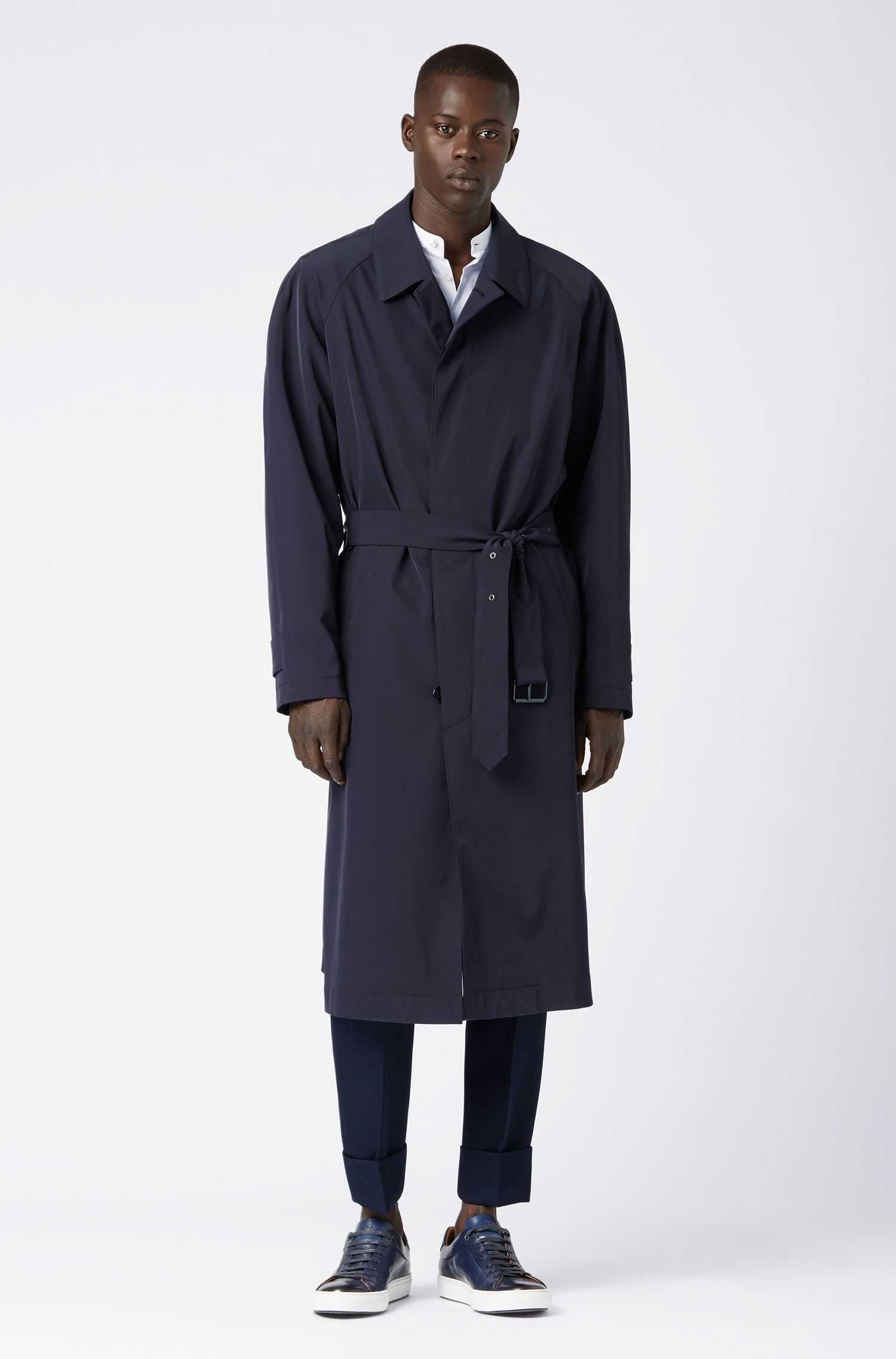 Relaxed-fit trench coat with belted waist, Dark Blue