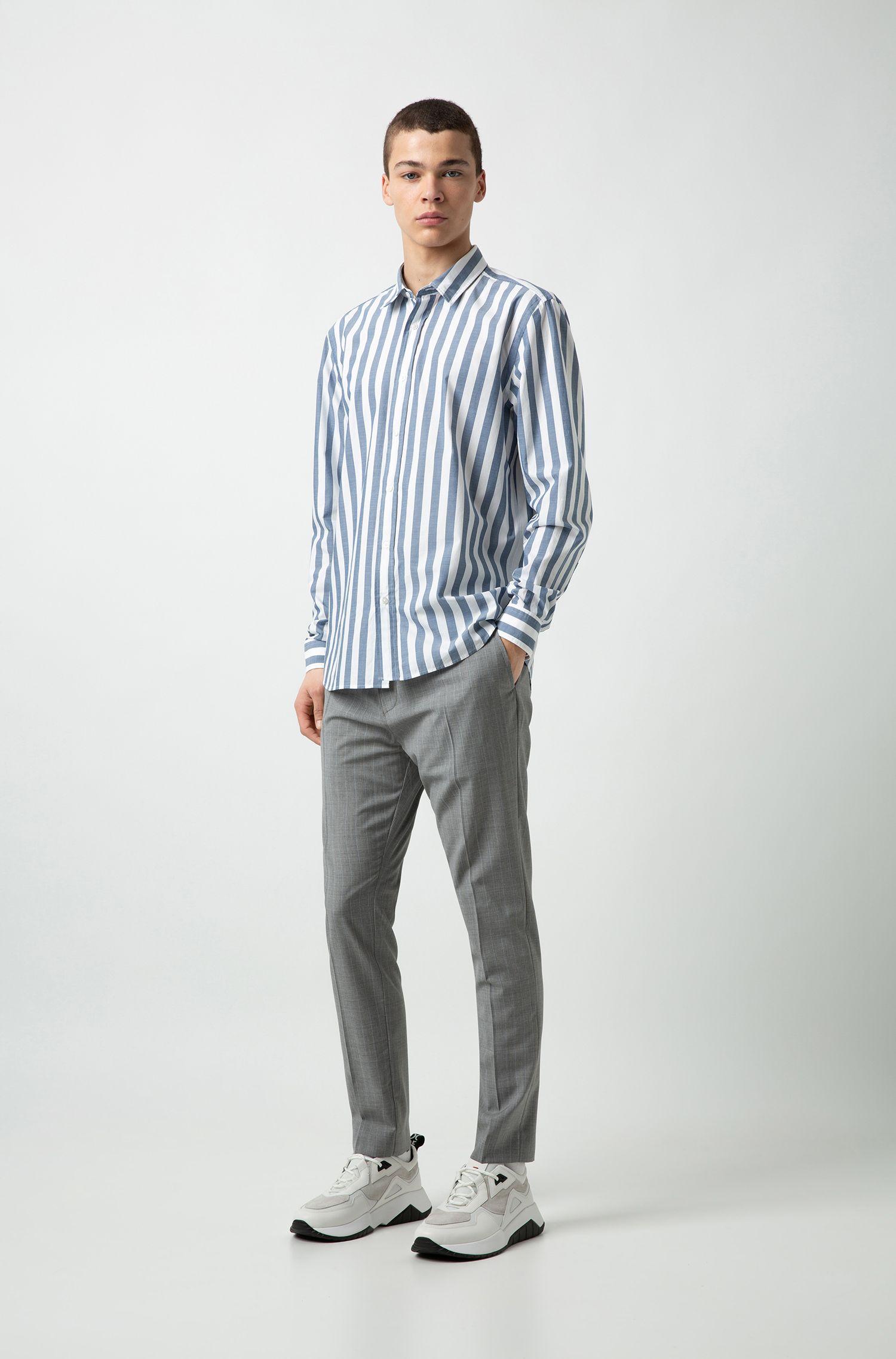 Relaxed-Fit Hemd aus Baumwoll-Popeline mit Blockstreifen, Gemustert