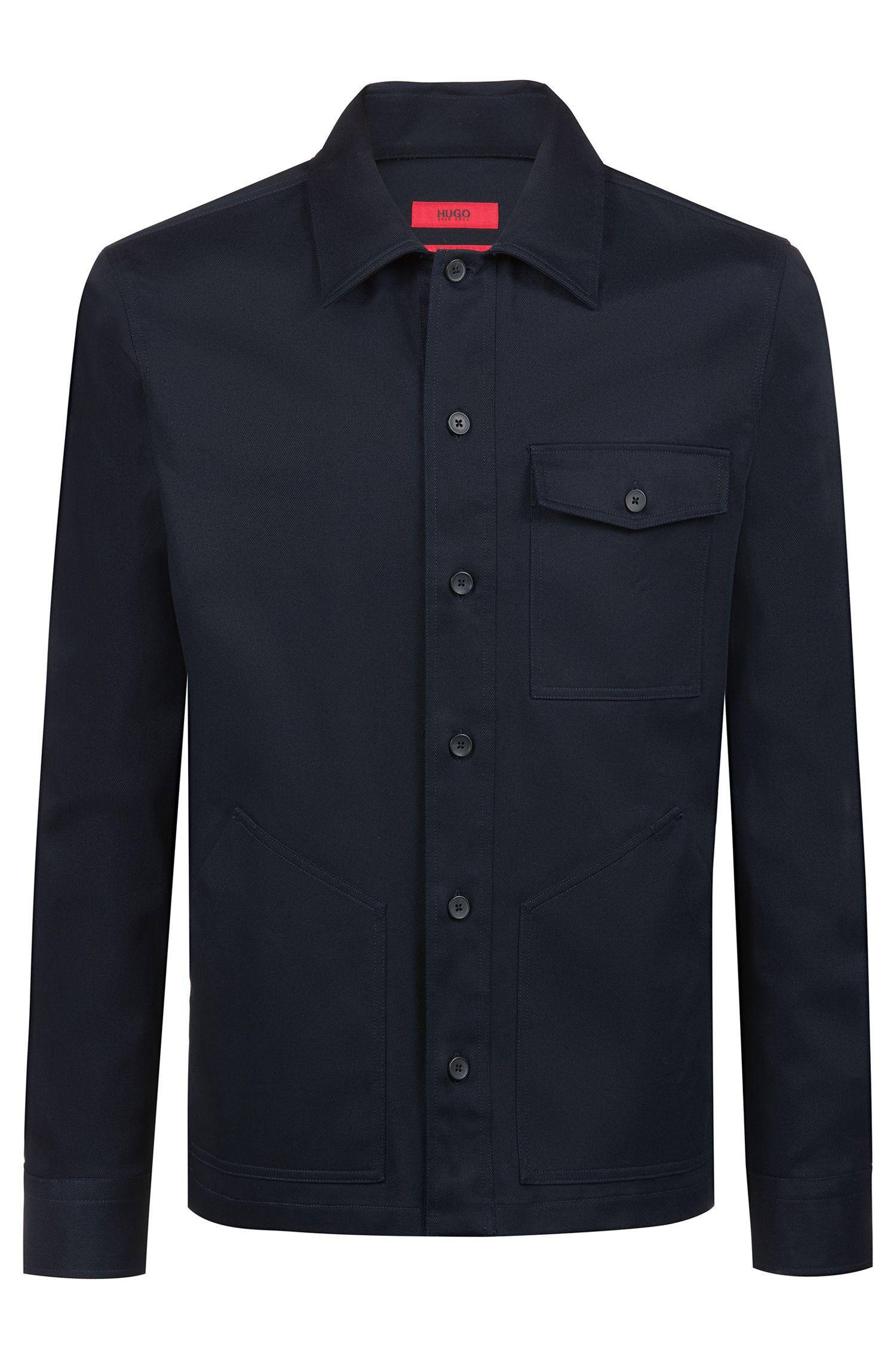 Oversized Hemd aus Stretch-Baumwolle mit aufgesetzten Taschen, Dunkelblau