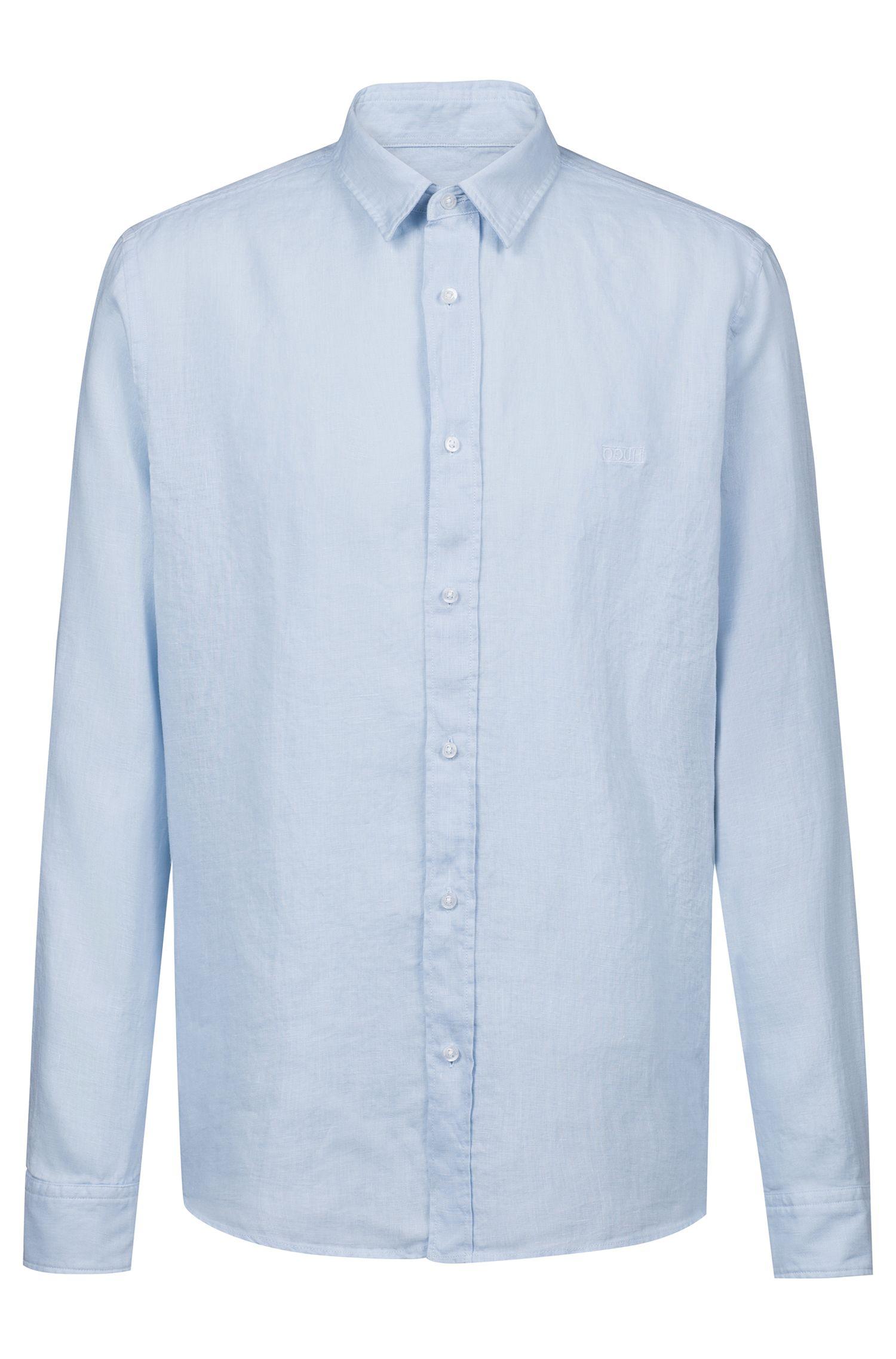 Relaxed-fit overhemd van linnen met gespiegeld logo, Lichtblauw