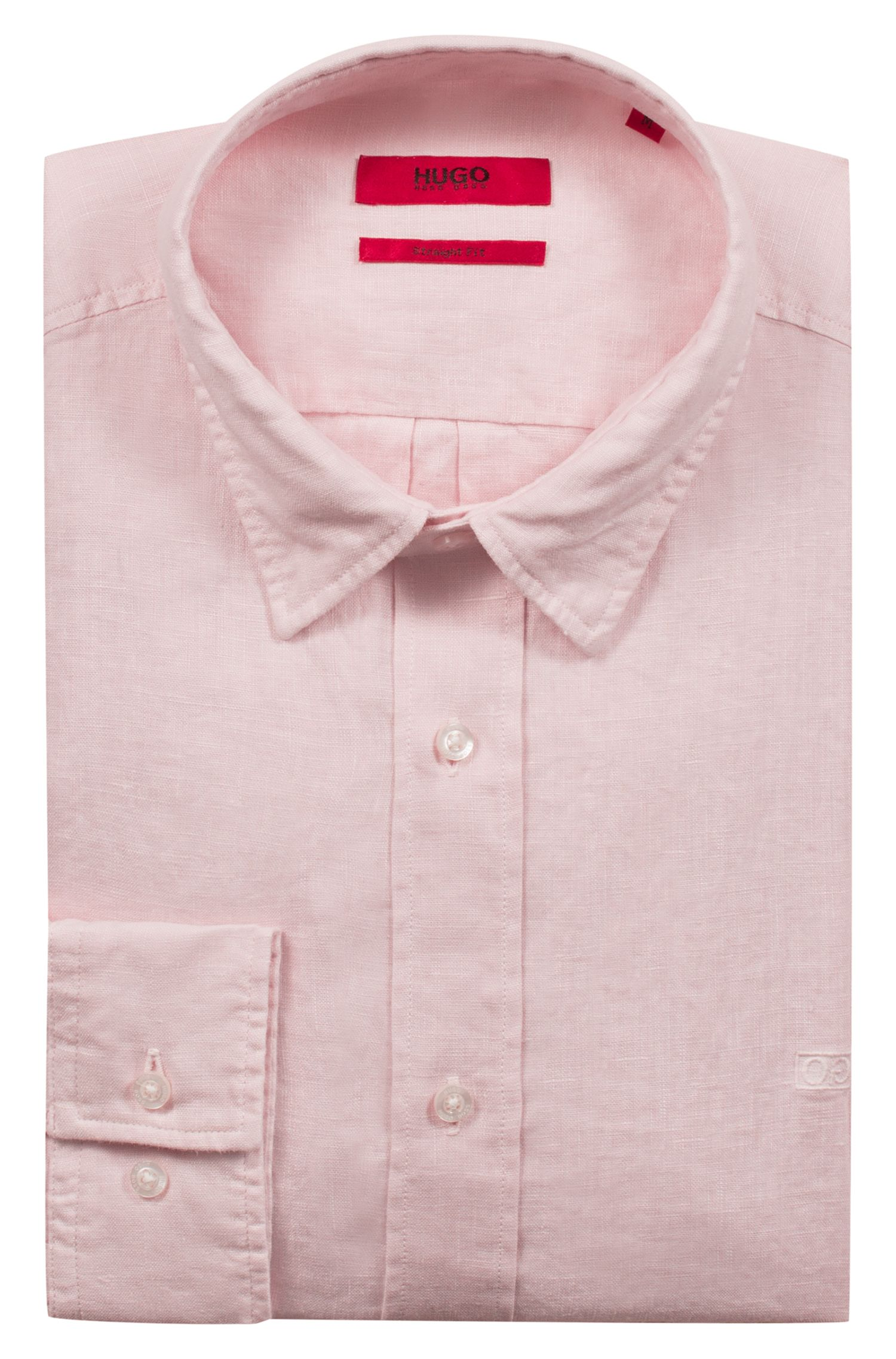 Chemise Relaxed Fit en lin, à logo inversé, Rose clair