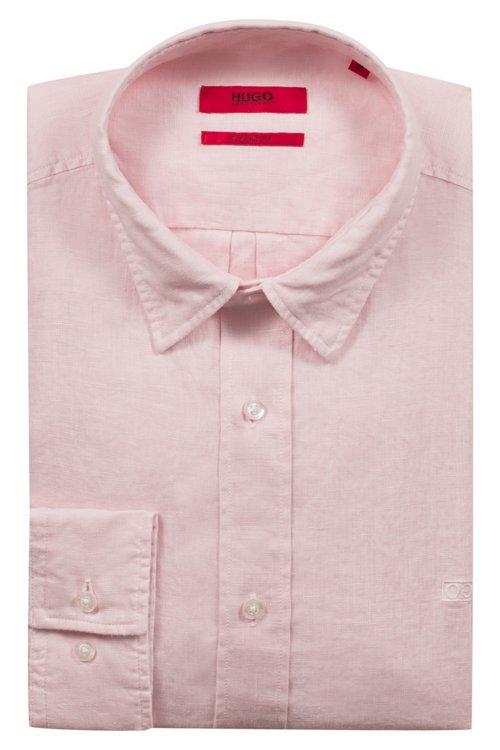 Hugo Boss - Relaxed-Fit Hemd aus Leinen mit spiegelverkehrtem Logo - 5