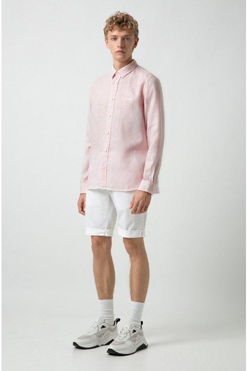 Hugo Boss - Relaxed-Fit Hemd aus Leinen mit spiegelverkehrtem Logo - 3