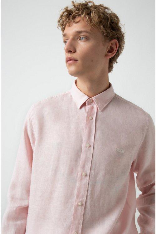 Hugo Boss - Relaxed-Fit Hemd aus Leinen mit spiegelverkehrtem Logo - 2