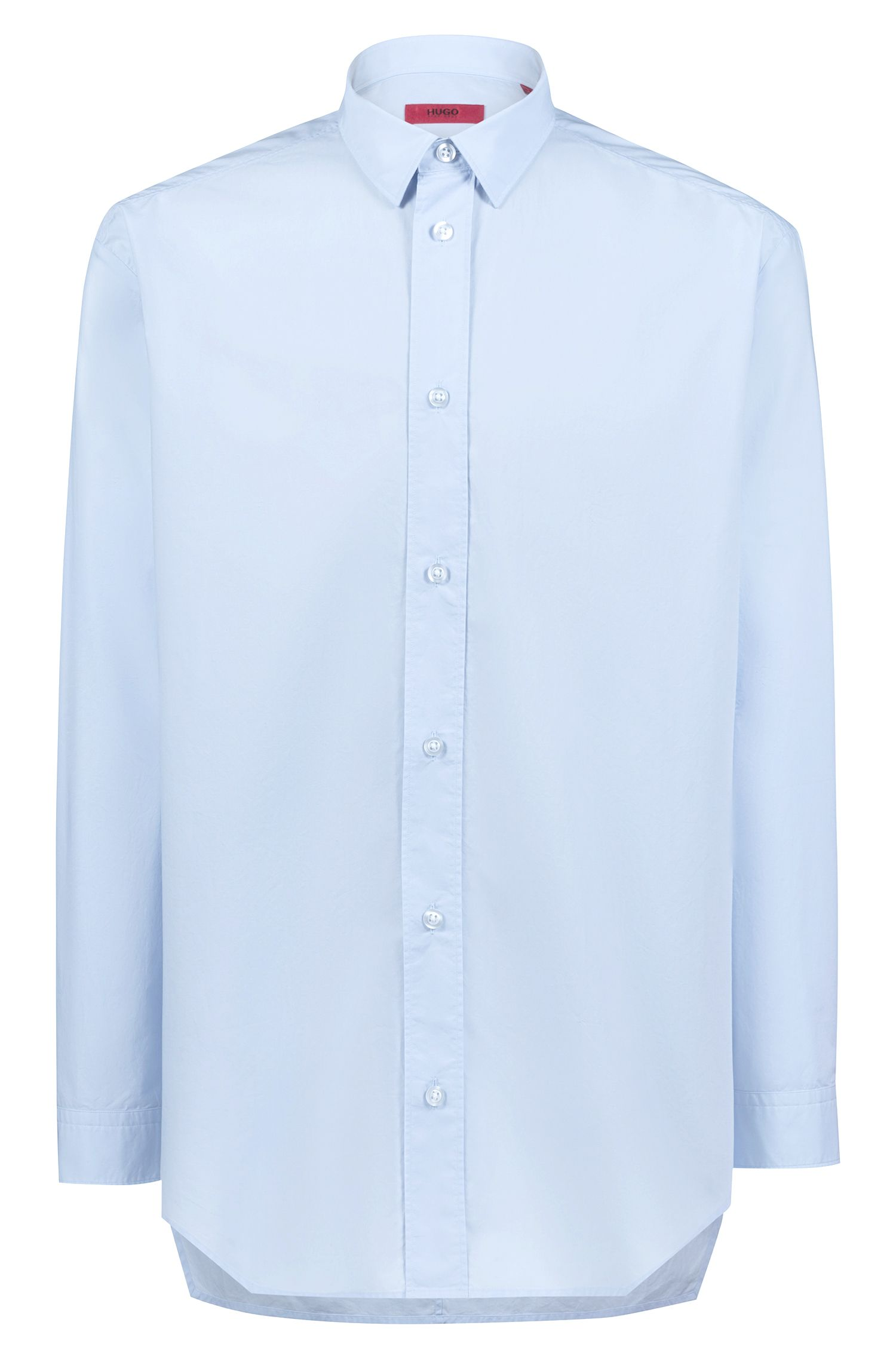 Oversized-fit shirt in paper-touch cotton, Light Blue