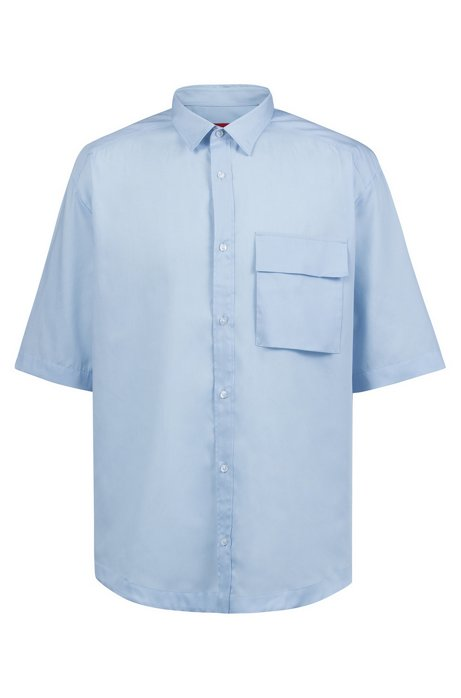 Oversized-fit shirt with half sleeves and patched pocket, Light Blue