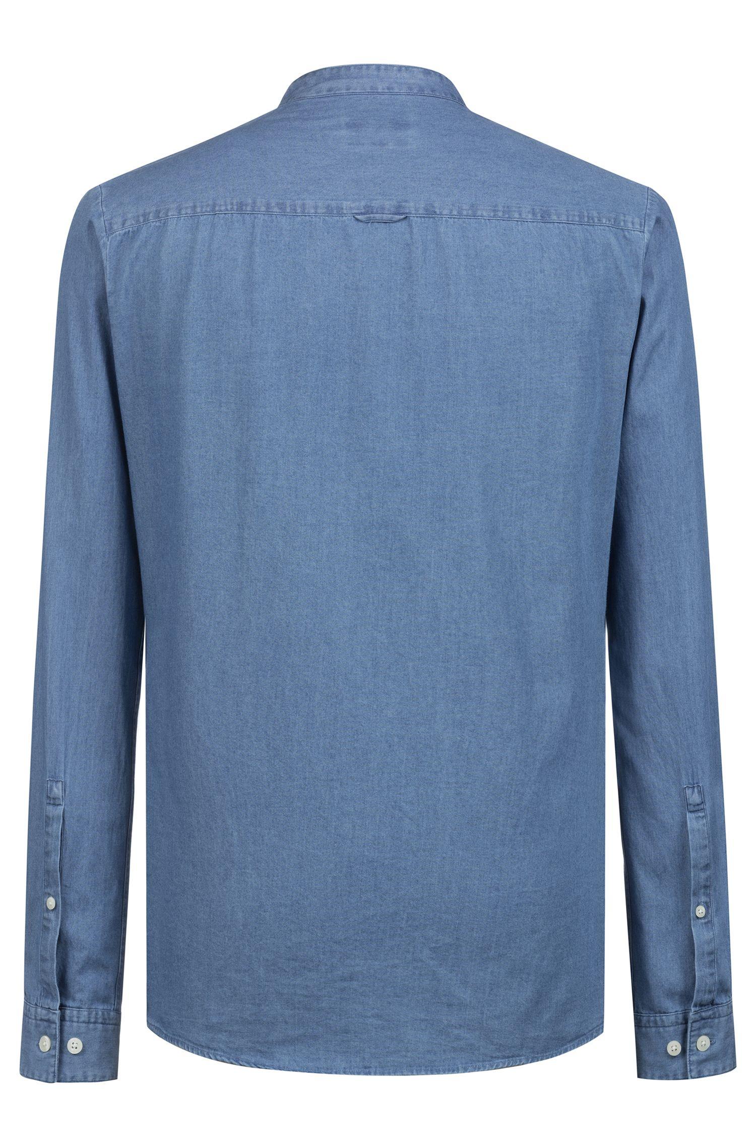 Extra slim-fit overhemd van gebleekt denim met opstaande kraag, Blauw