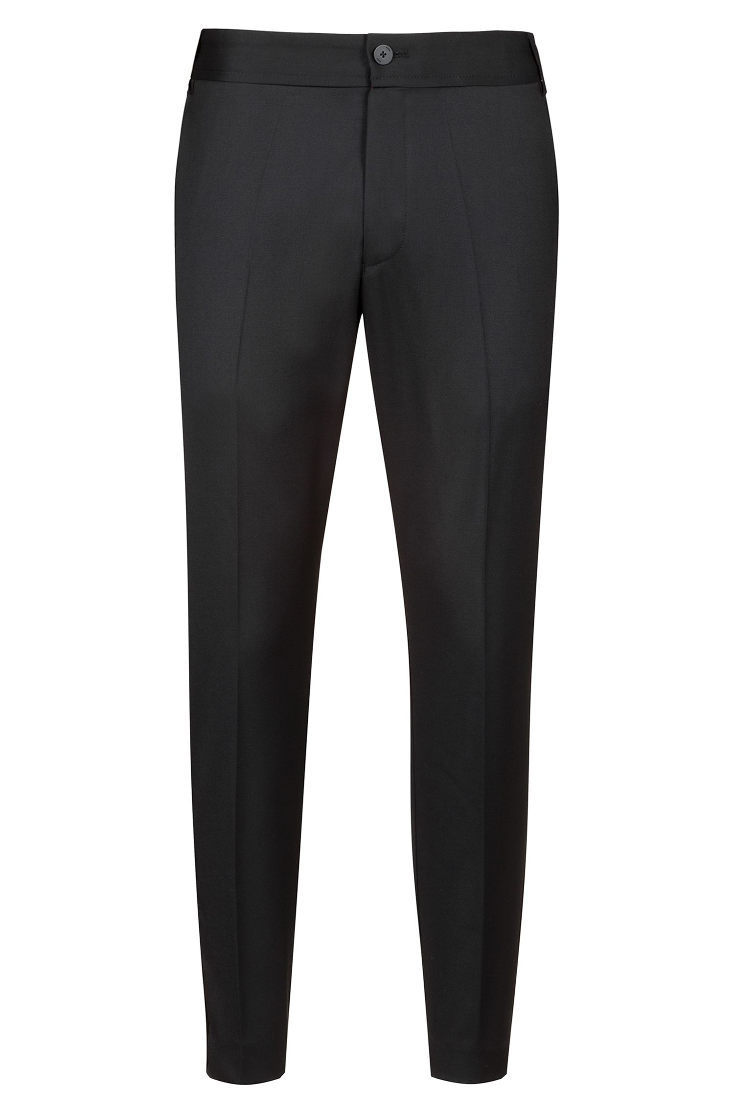 Extra-slim-fit virgin-wool trousers with natural stretch, Black