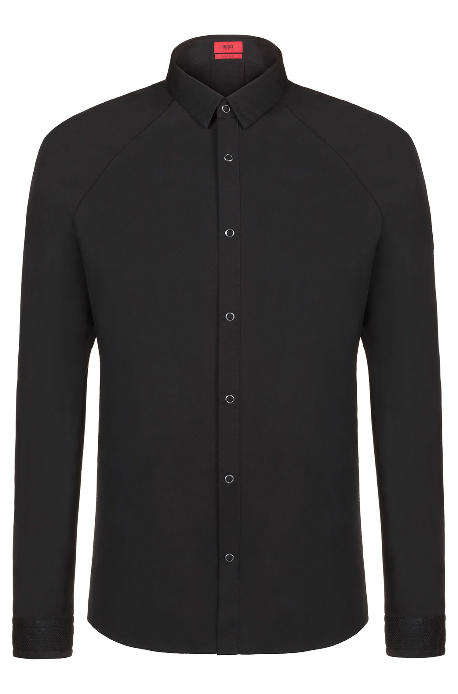 Extra-slim-fit shirt with raglan sleeves and rear logo, Black