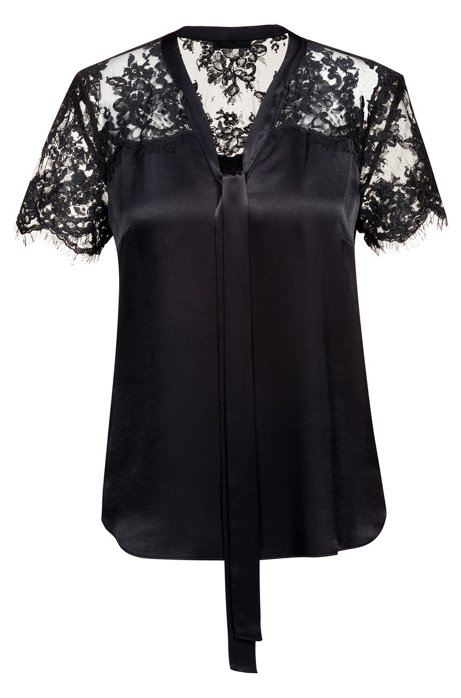 Tie-neck top with lace panel, Black