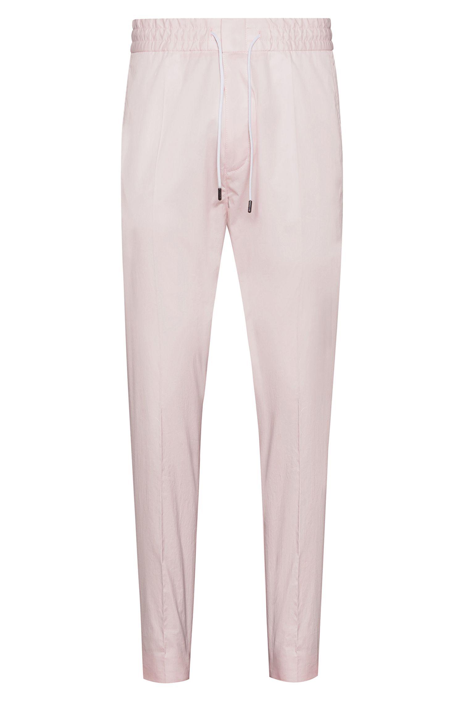 Pantalon Tapered Fit en coton stretch avec cordon de serrage à la taille, Rose clair