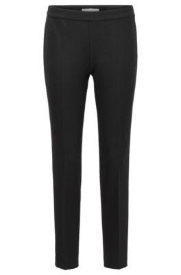 Slim-Fit Hose in Cropped-Länge aus portugiesischem Stretch-Gewebe, Schwarz