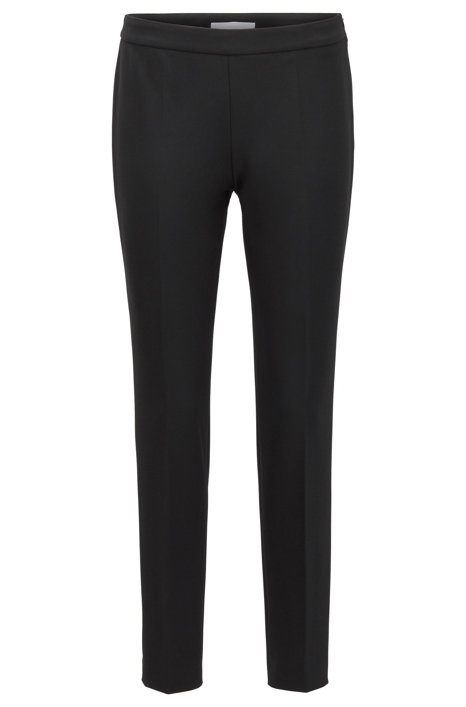Slim-leg cropped trousers in Portuguese stretch fabric, Black