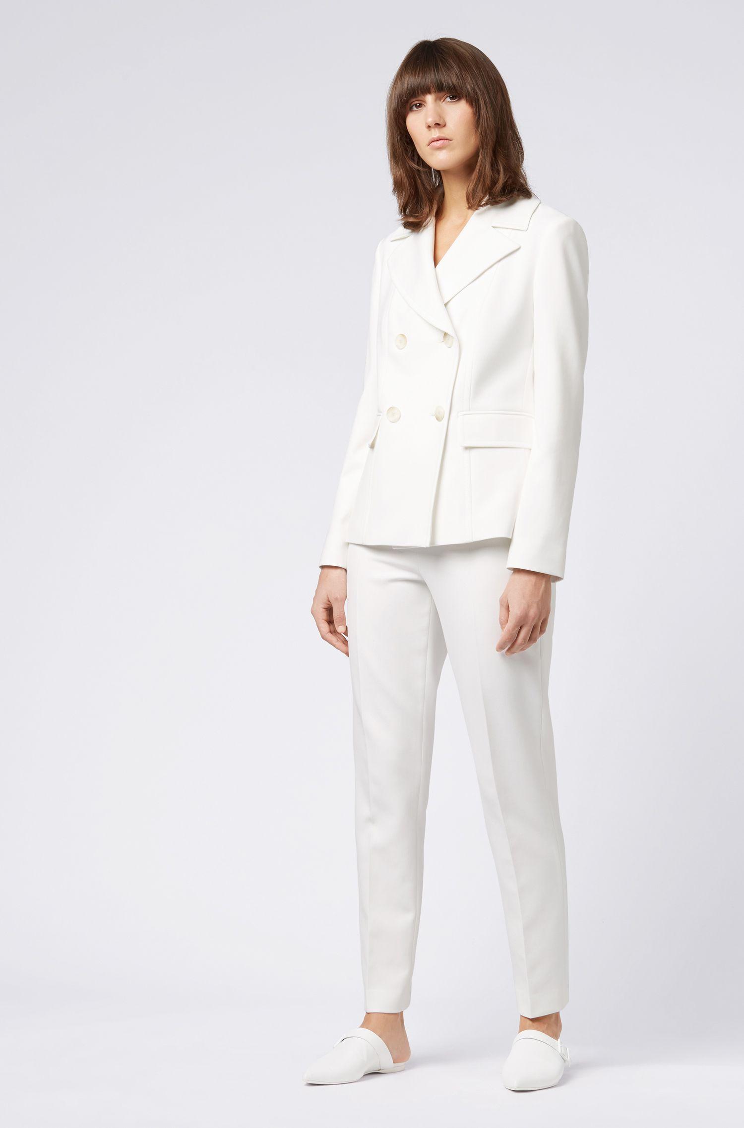 Slim-leg cropped trousers in Portuguese stretch fabric, Natural