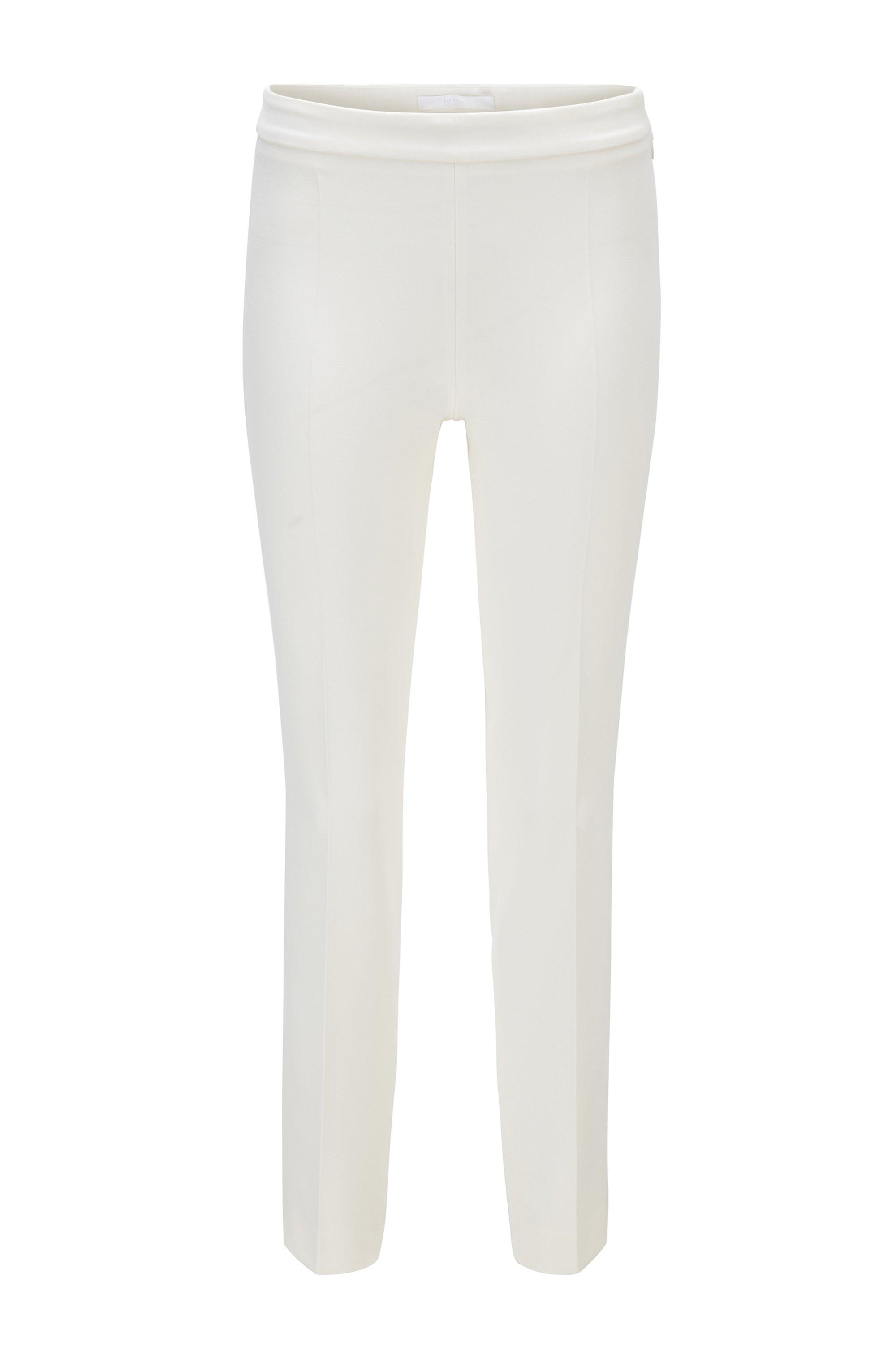 Pantalon en tissu stretch portugais, à la coupe courte et étroite, Blanc