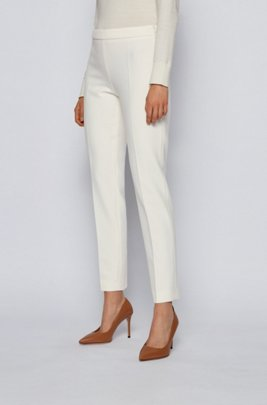 Slim-leg cropped trousers in Portuguese stretch fabric, White