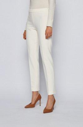 Slim-leg cropped trousers in Portuguese stretch fabric, White