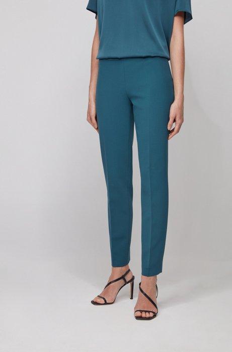 Slim-Fit Hose in Cropped-Länge aus portugiesischem Stretch-Gewebe, Dunkelblau
