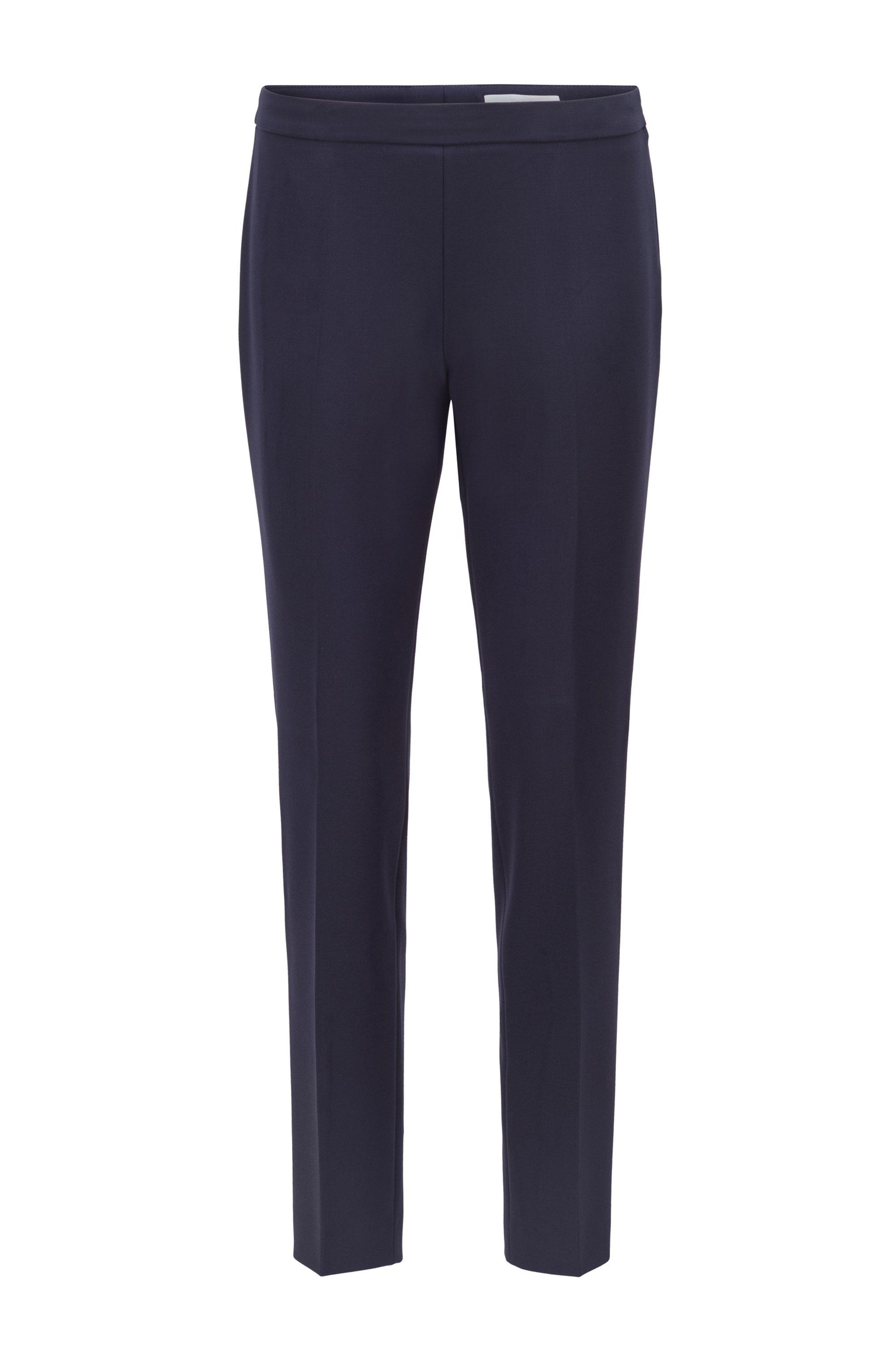 Pantalon en tissu stretch portugais, à la coupe courte et étroite, Bleu foncé