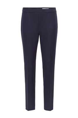 Slim-leg cropped trousers in Portuguese stretch fabric, Dark Blue