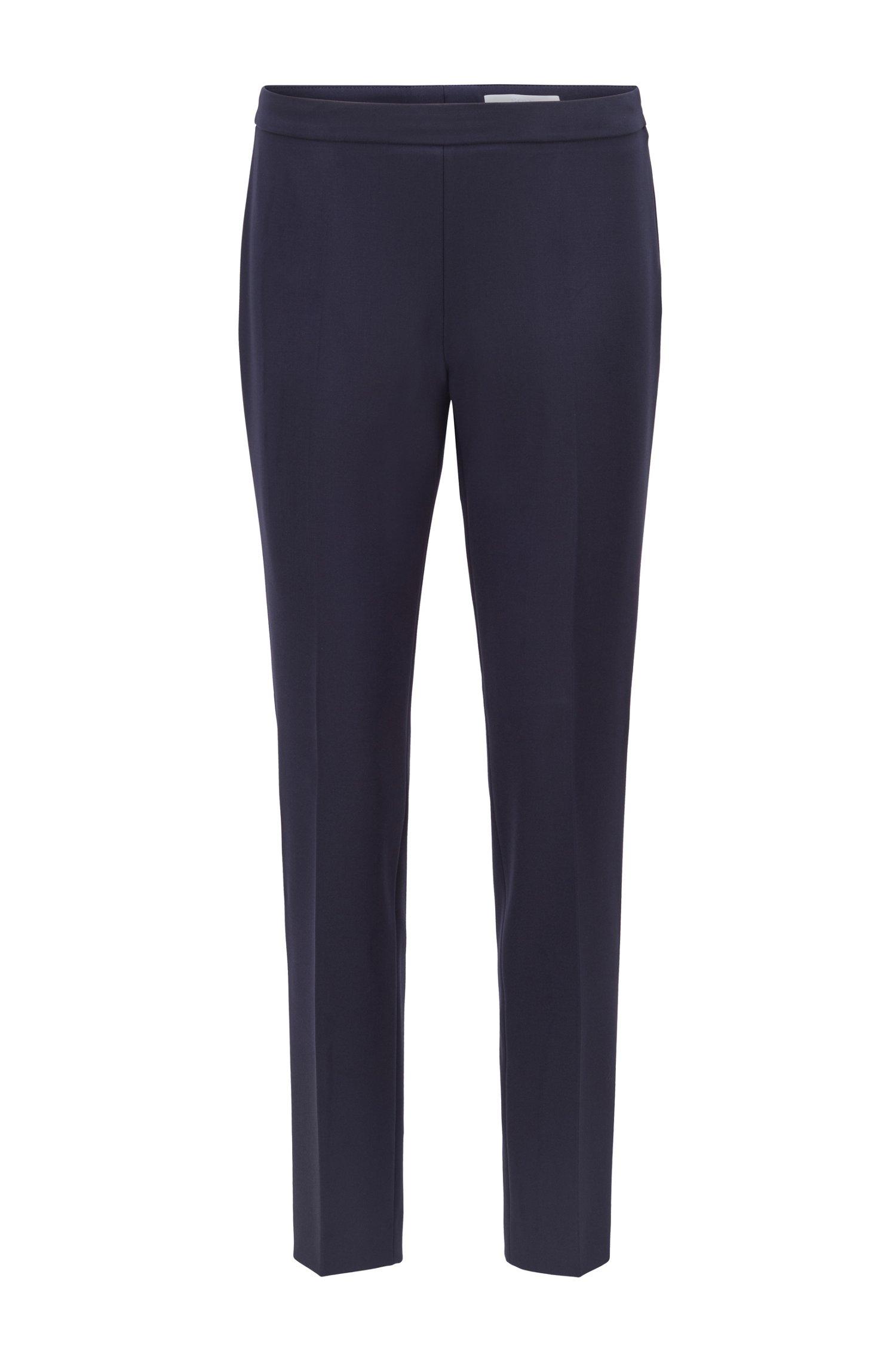 Slim-leg cropped trousers in Portuguese stretch fabric, Dark Blue