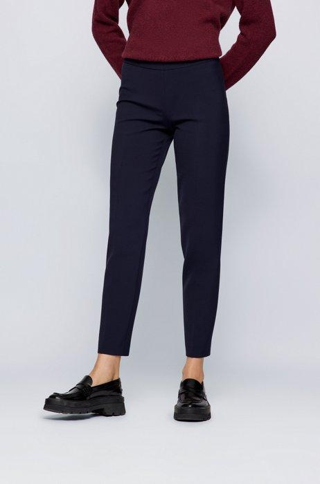 Kortere broek met slanke pijpen van Portugees stretchmateriaal, Donkerblauw