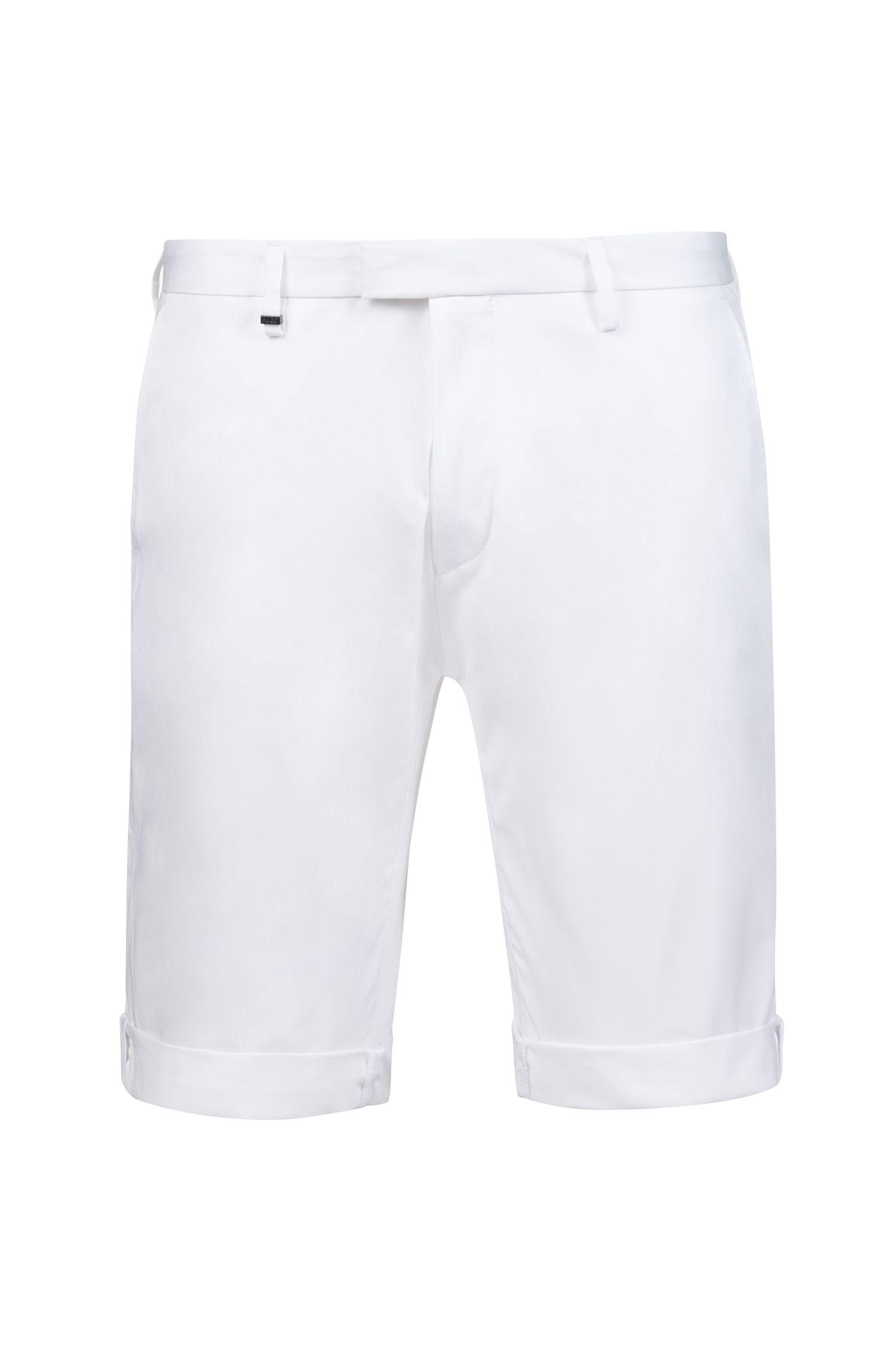 Pantaloncini slim fit in cotone elasticizzato con dettagli a contrasto, Bianco