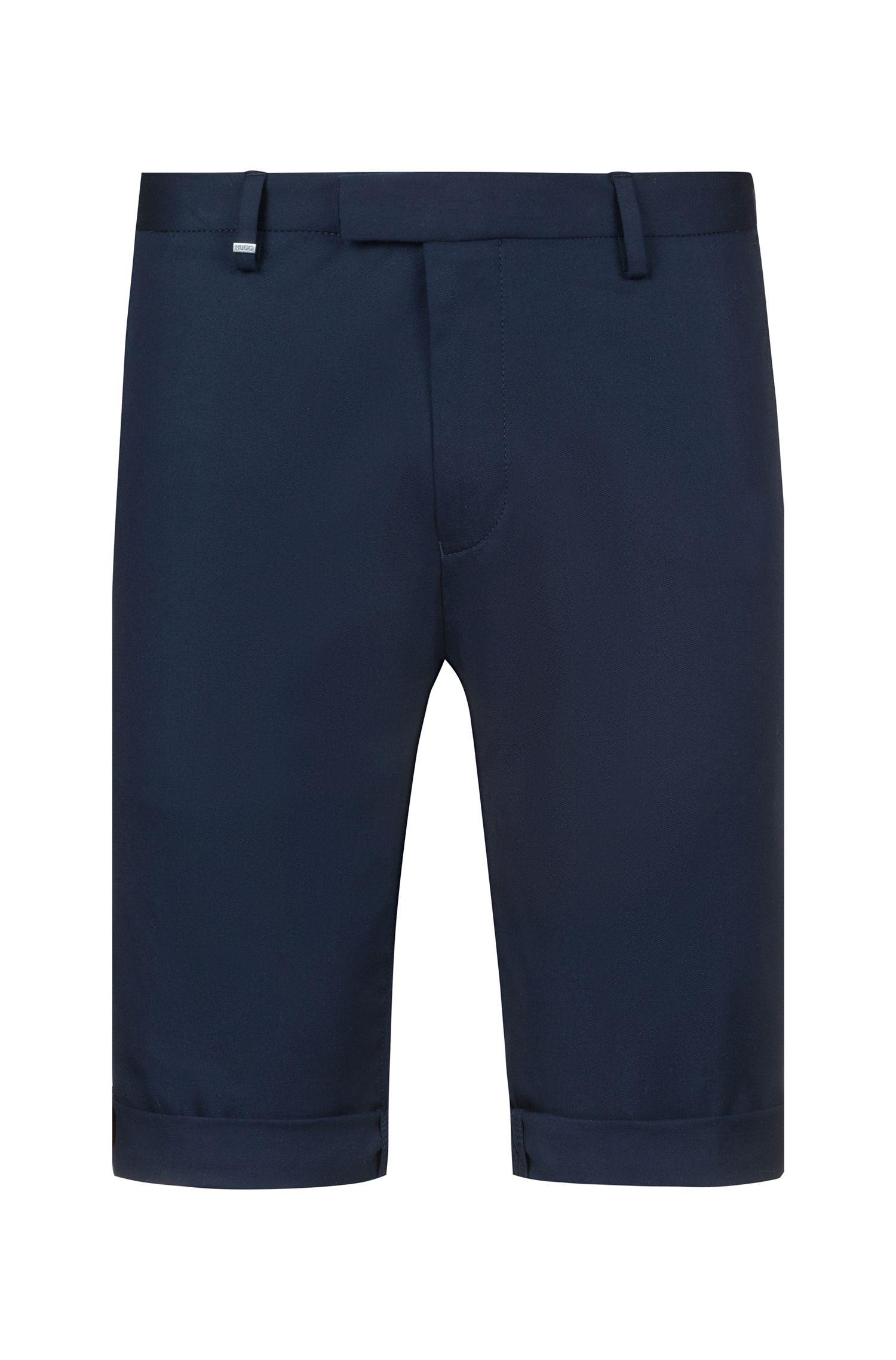 Slim-fit short van stretchkatoen met contrastdetails, Donkerblauw