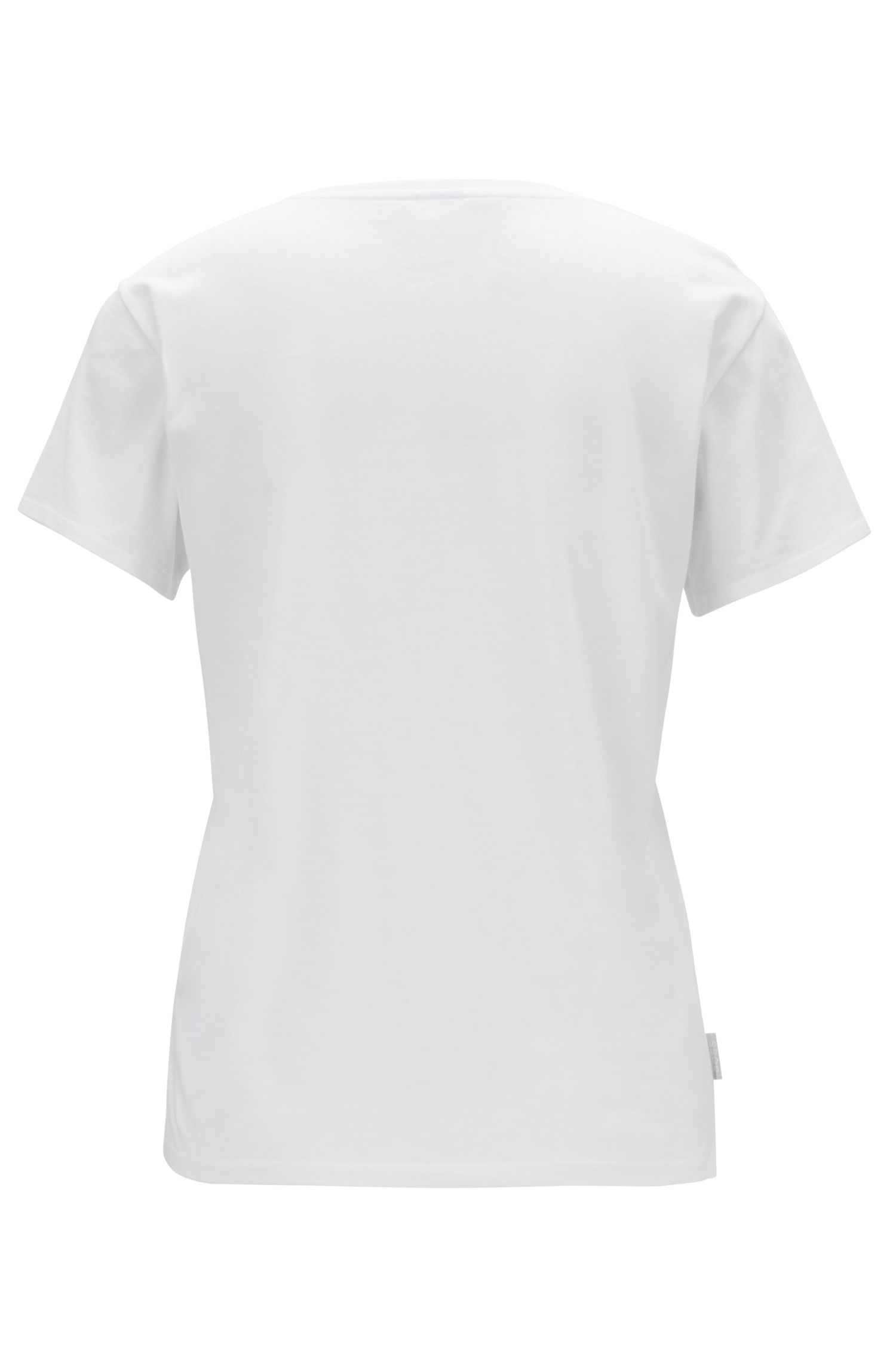 Cotton-modal blend T-shirt with ribbed neckline, White